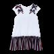 Patachou Patachou 452 White Dress with Navy/ Red Ruffle Skirt
