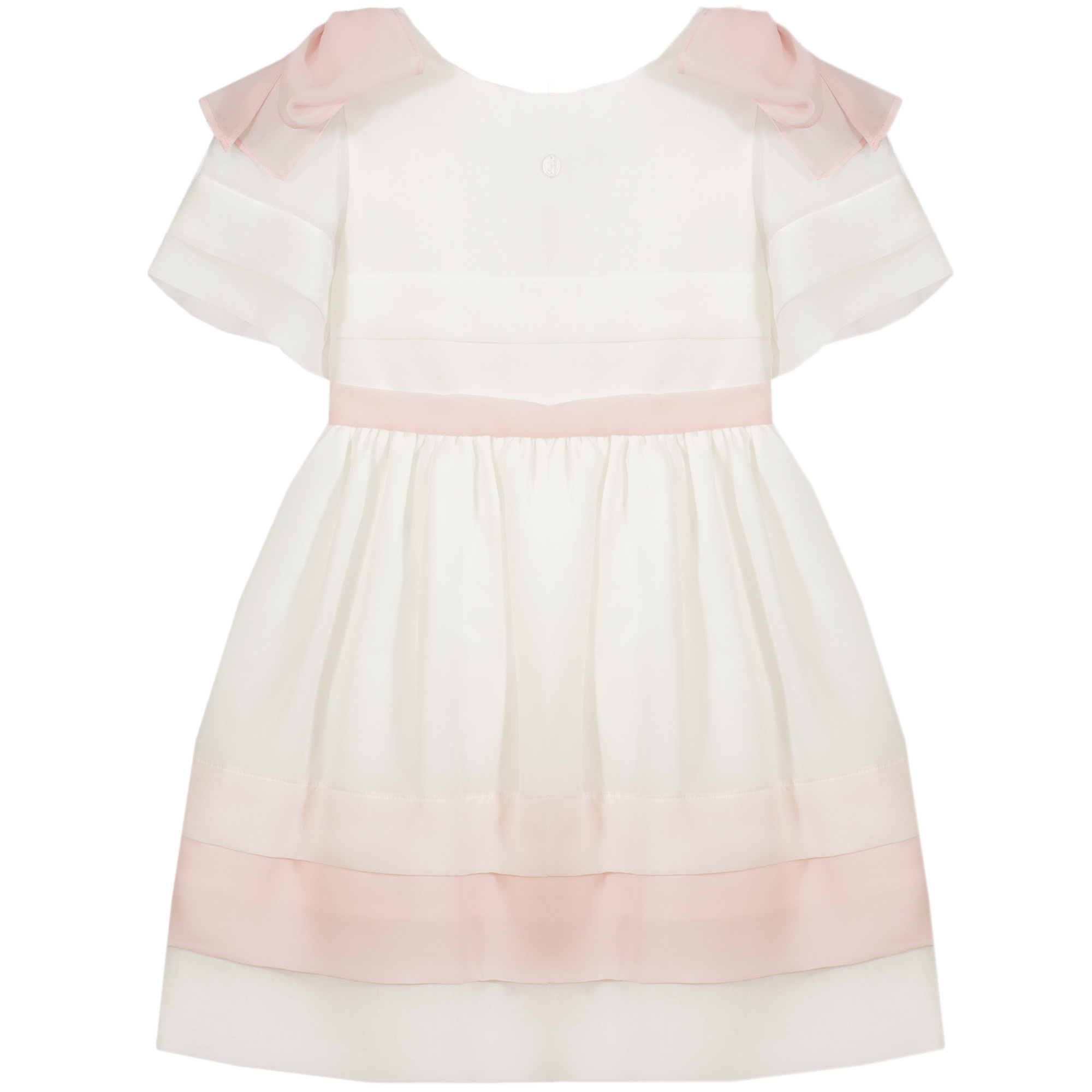 Patachou Patachou 503 White Party Dress with Pink Trim