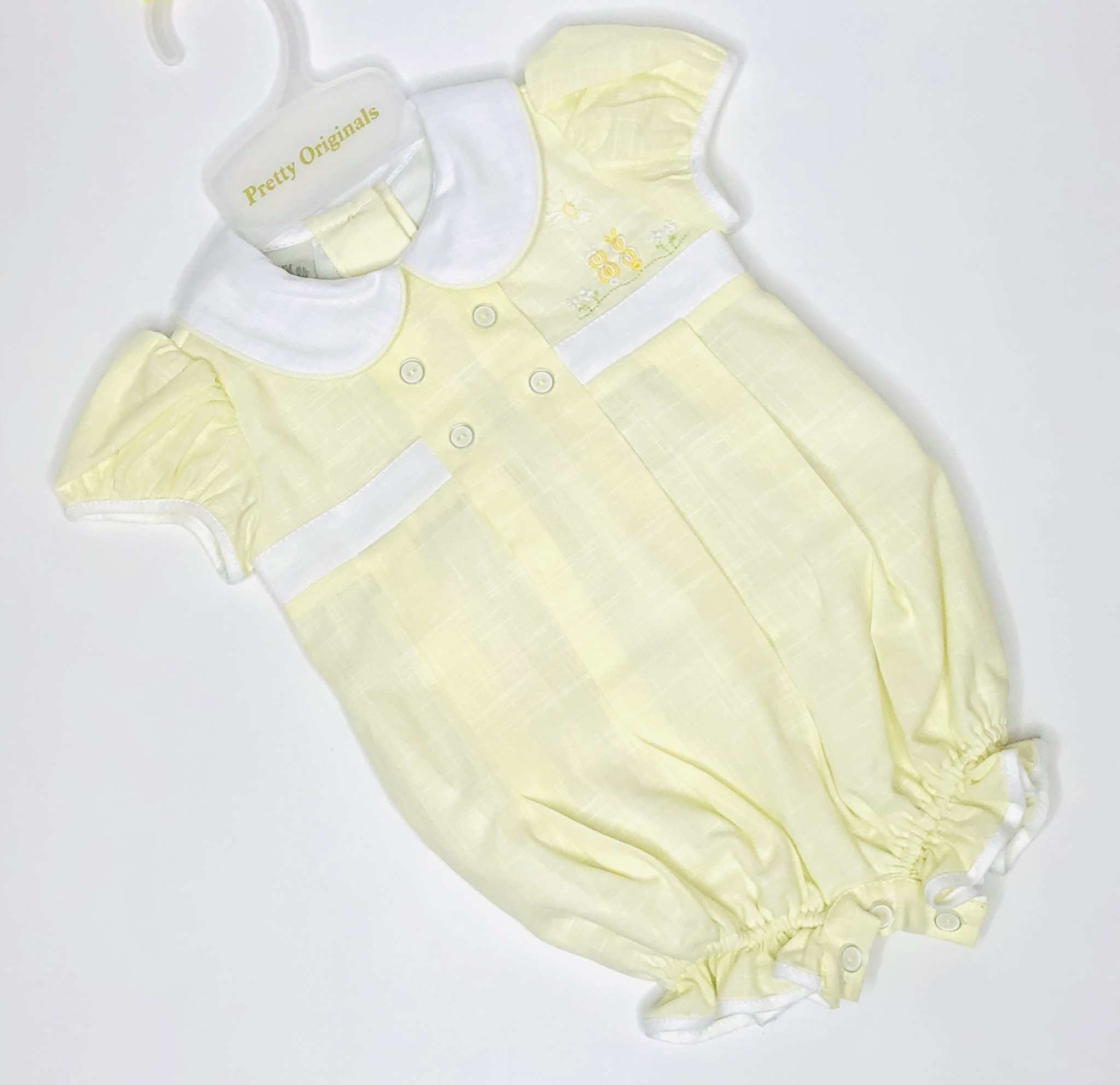 Pretty Originals Pretty Originals BD01801E Yellow / White Romper