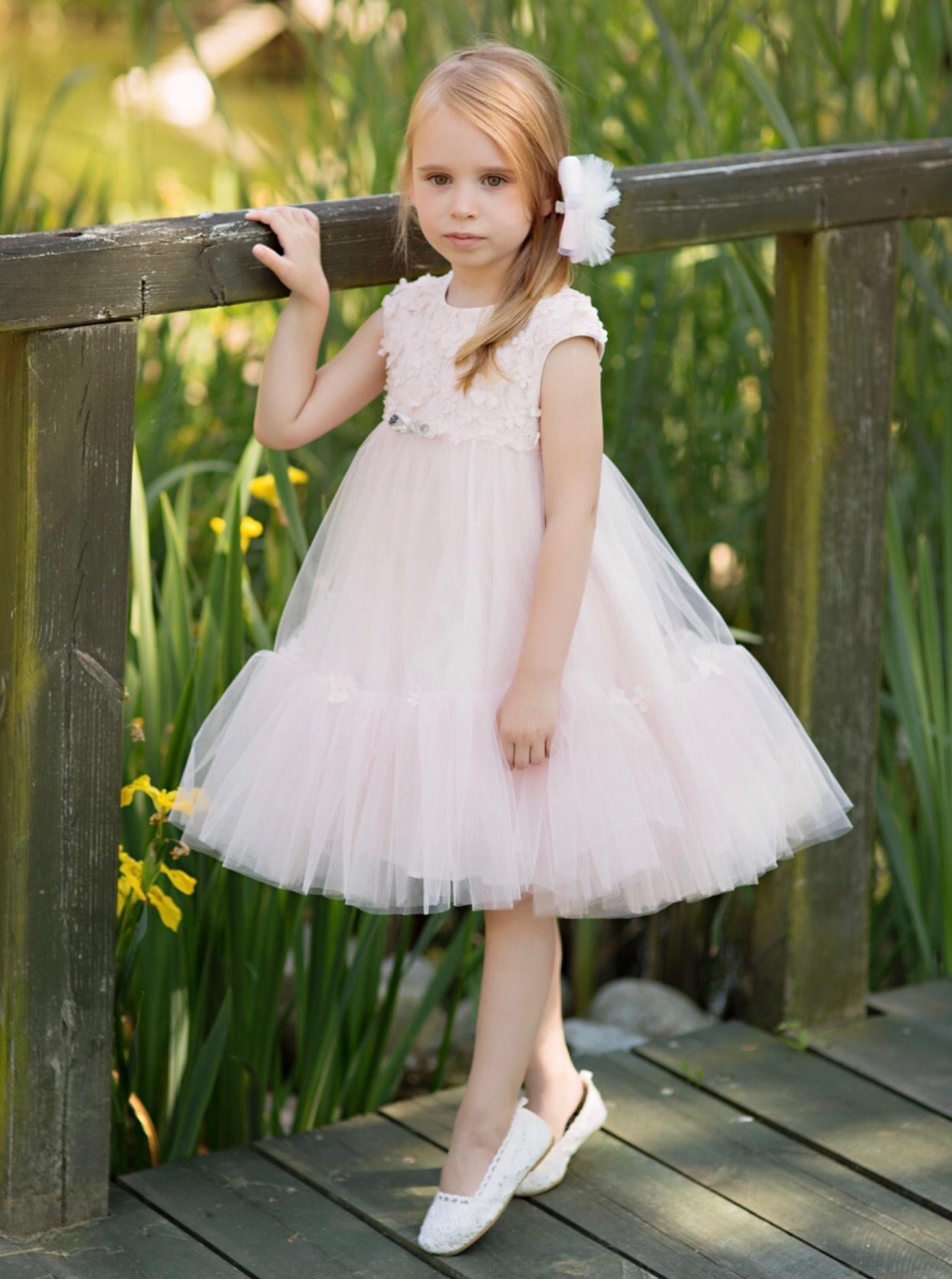 Daga Daga Pink Blossom & Tulle Dress With Silver Bow