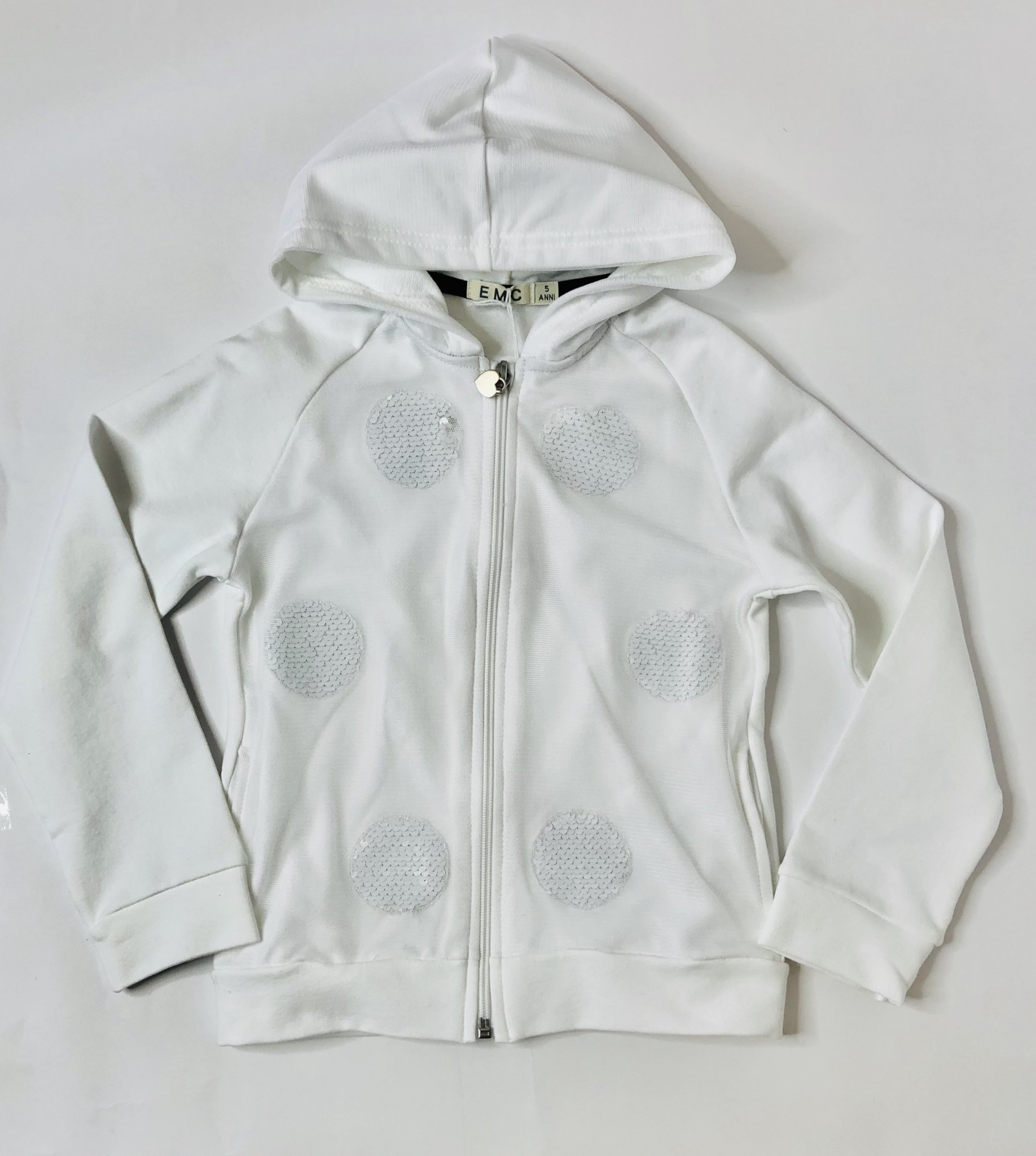 EMC EMC Girls White Zipper Hoodie with Circle sequins