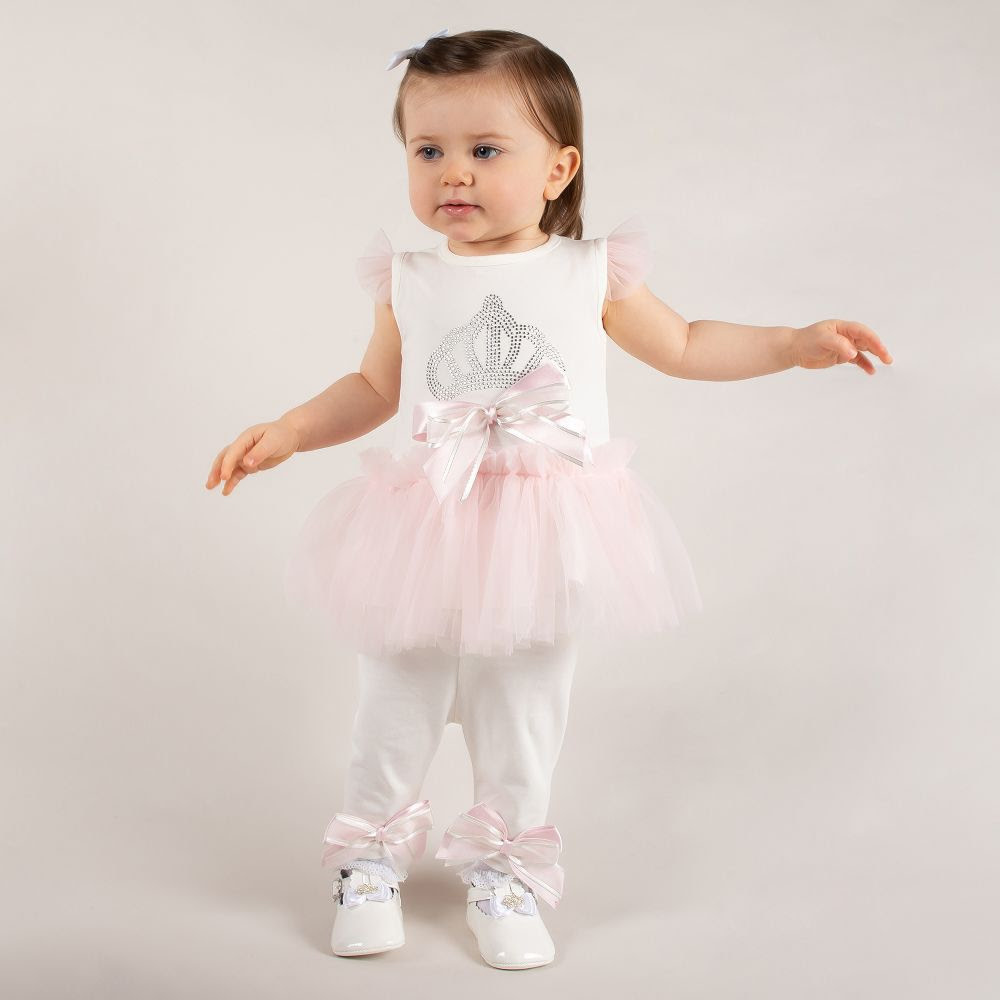 Caramelo Carmelo Pink /Ivory 3 Piece Set with Crown Motif