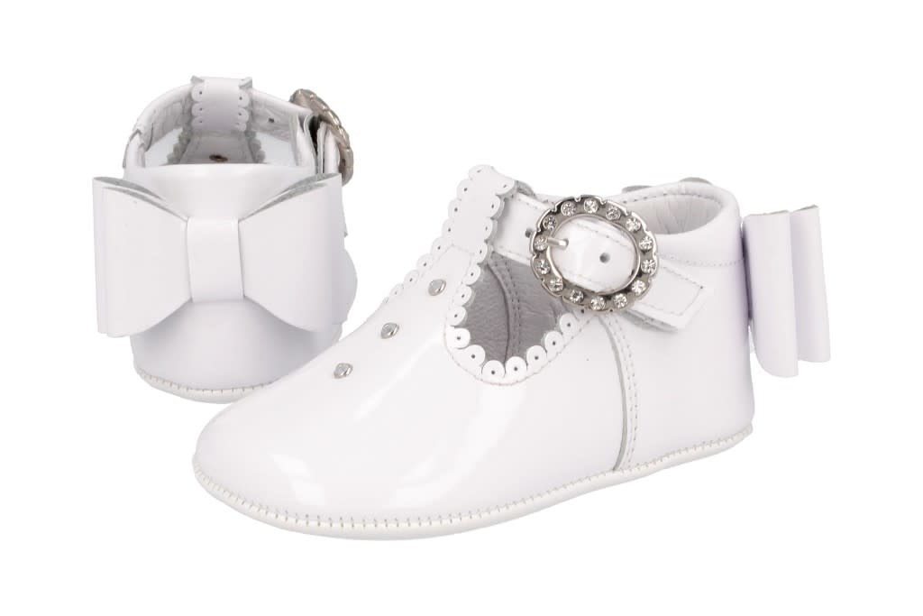 Andanines Andanines 201809 White Pam Shoe With Crystals