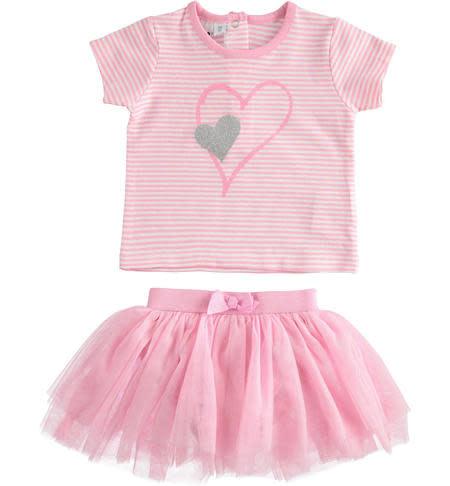 Ido Ido J651 Pink & White Stripe Top & Tutu Skirt Set