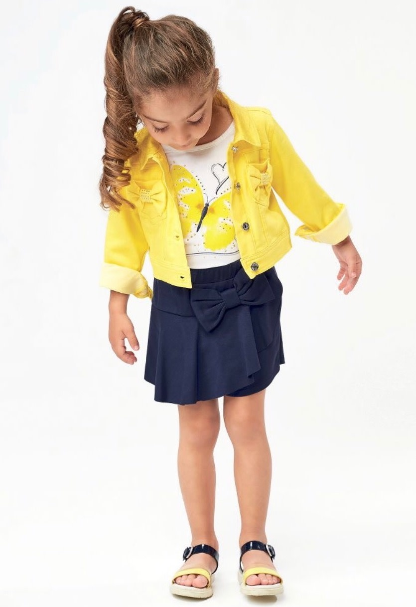 Ido Ido J322 Butterfly Top And Navy Skirt/Short Set