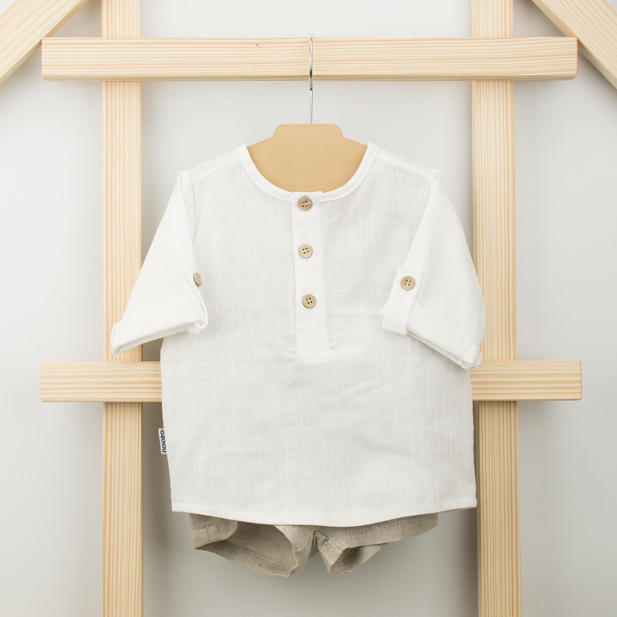 Babidu Babidu 41438 Long Sleeve Top with Linen Shorts