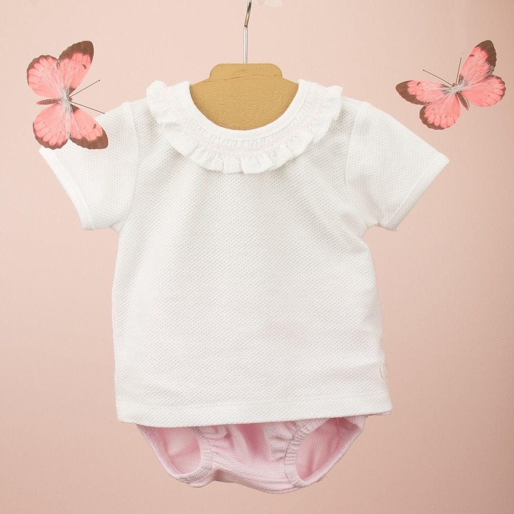 Babidu Babidu 42330 Pink/White Ruffle Pant Set