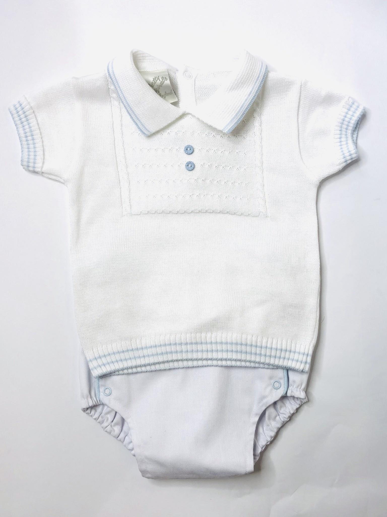 Pretty Originals Pretty Originals Boys White Knit Top & Pant Set