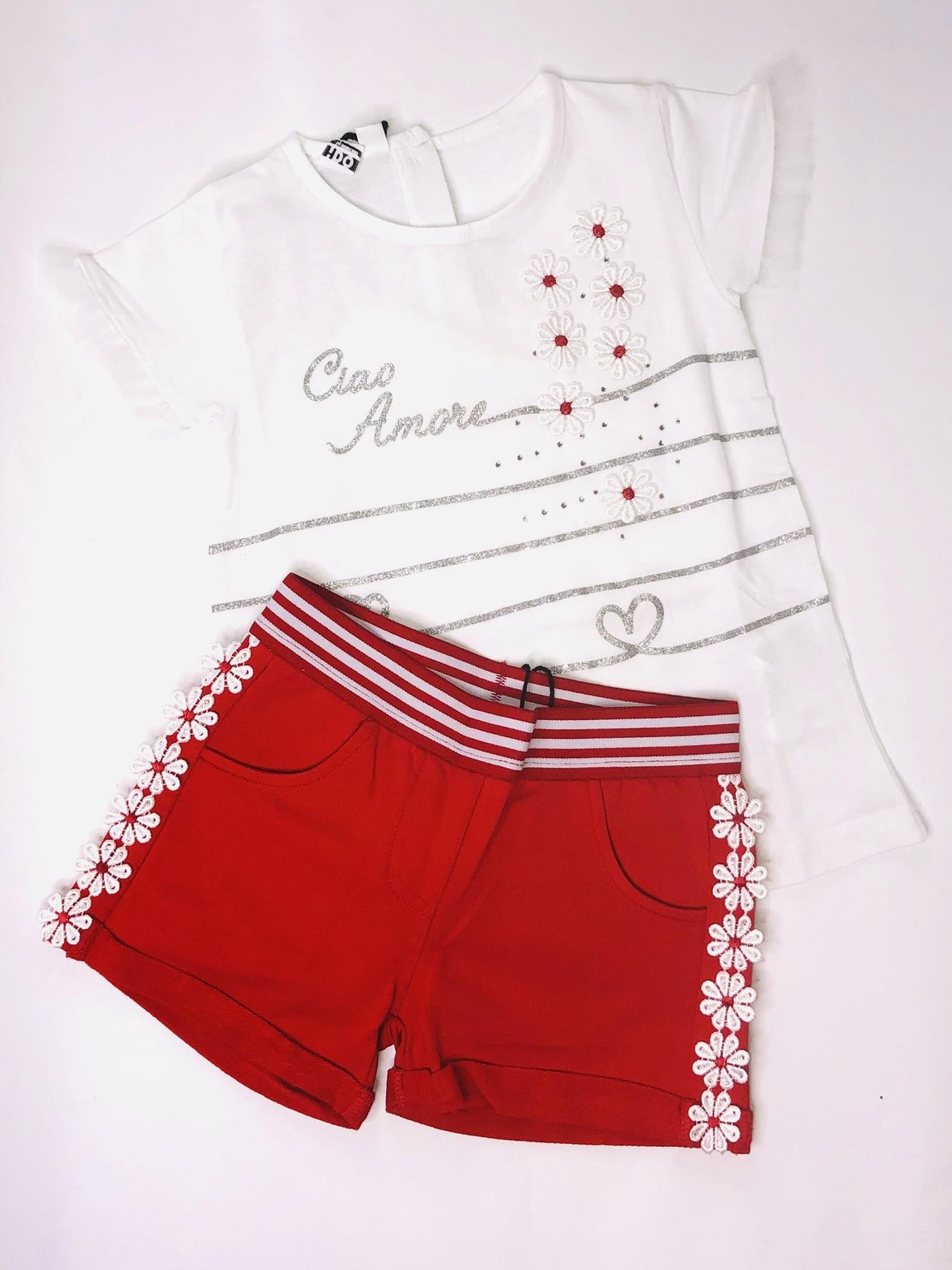 Ido Ido J758 Red & White Daisy Amour Top & Short Set