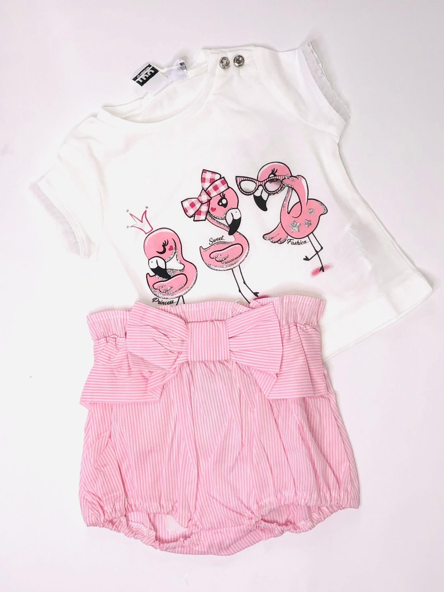 Ido Ido J630 Flamingo Top & Bloomers Set