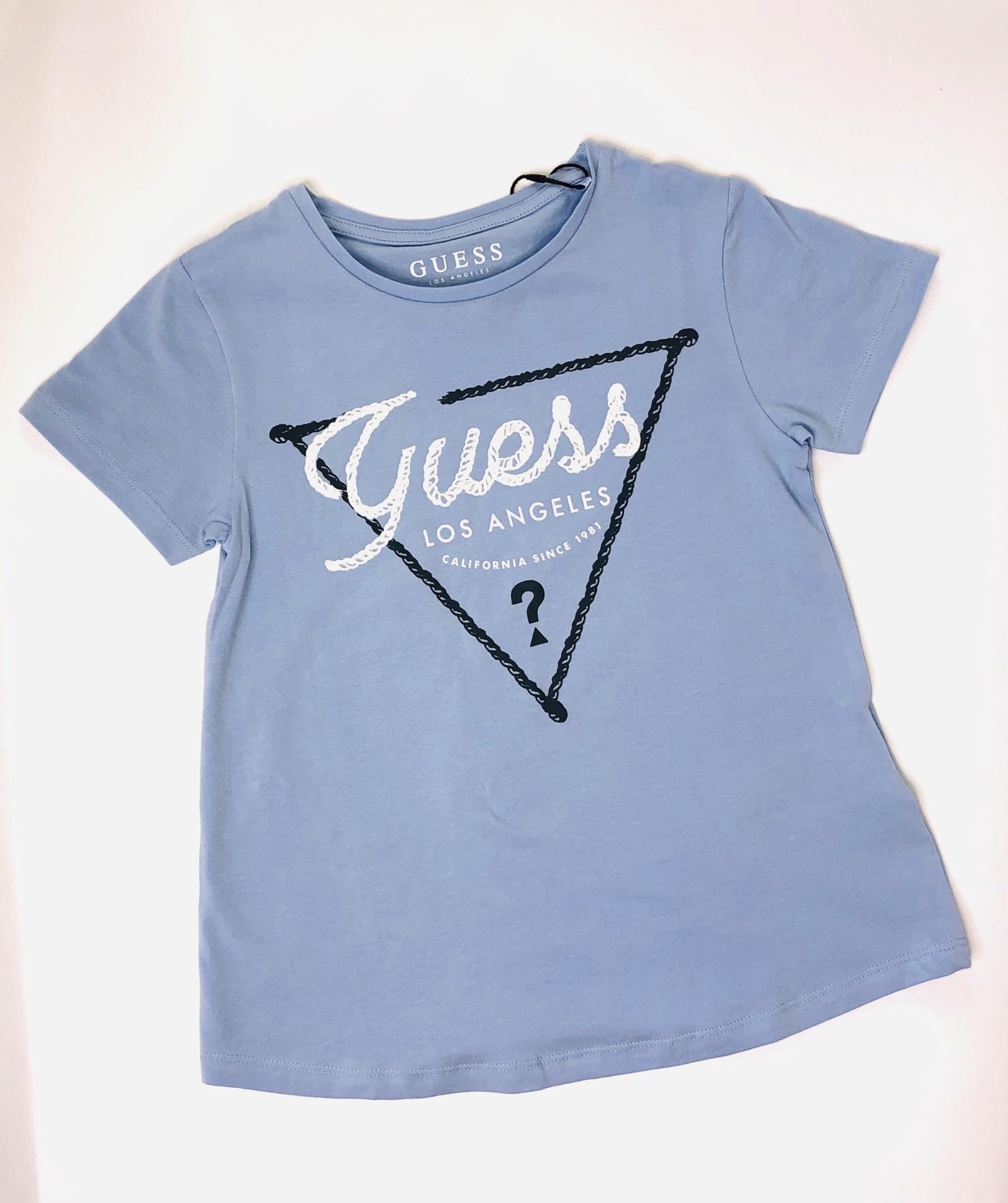Guess Guess Girls Blue T-shirt with Glitter Guess Logo