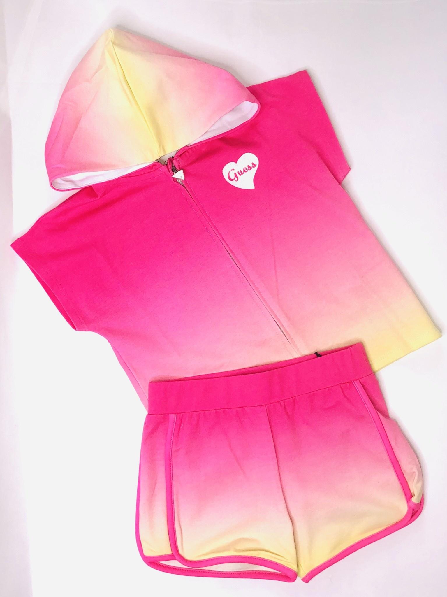 Guess Guess Girls Pink & Yellow Zipper & Shorts Set