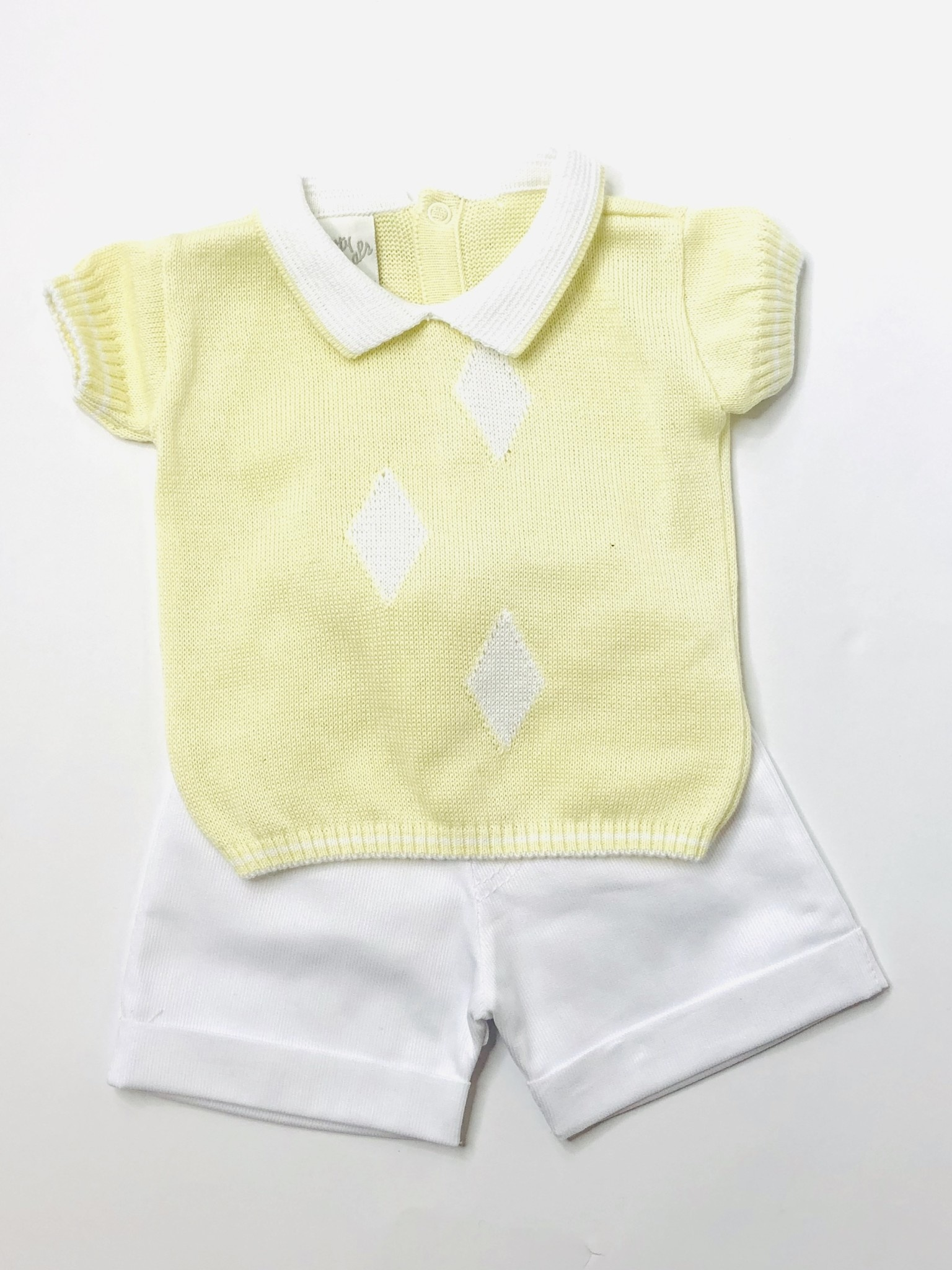 Pretty Originals Pretty Originals Yellow Knit Top & Short, Diamond Shape detai