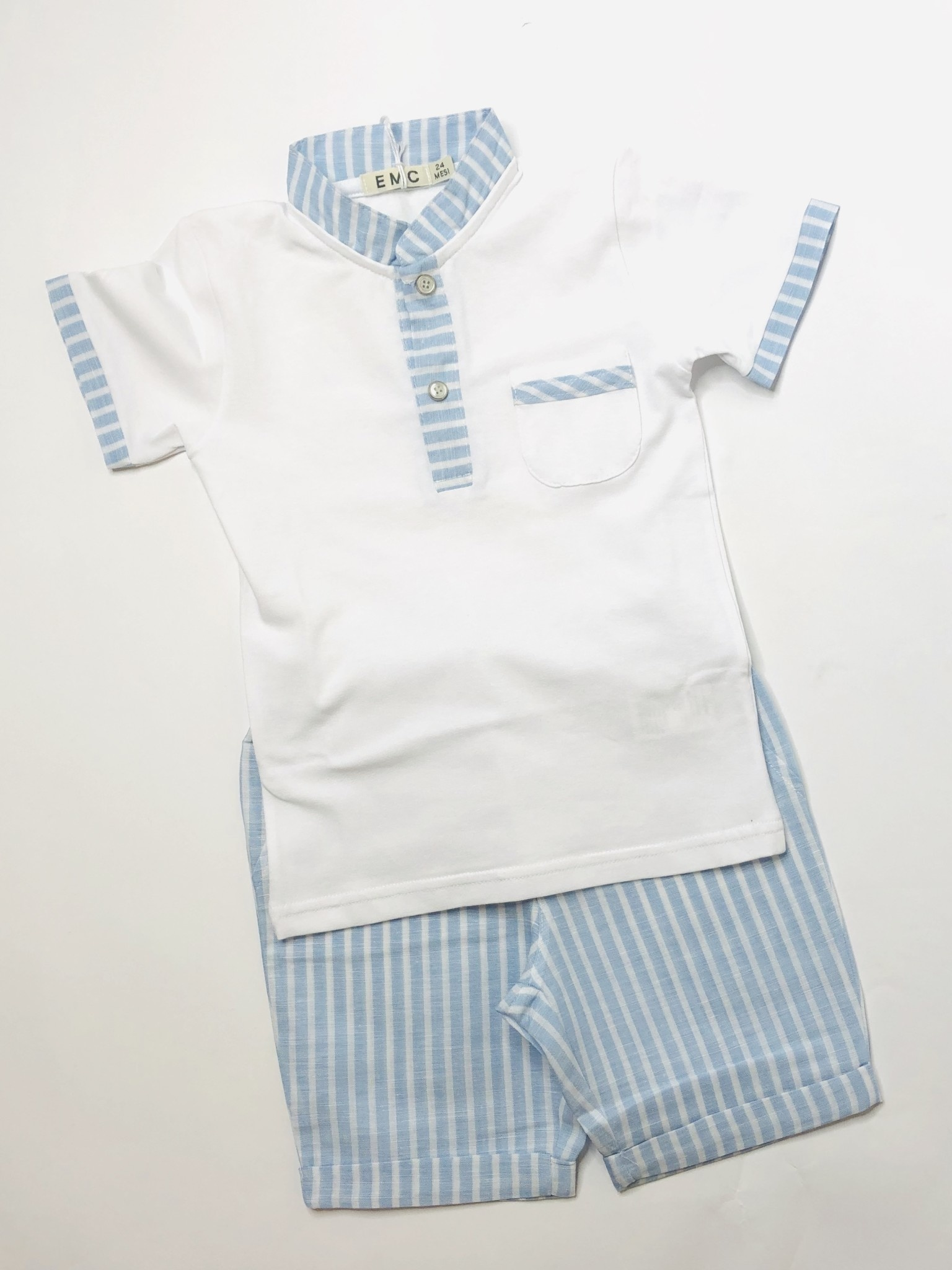 EMC EMC Mandrin Stripe Collar & Stripe Shorts Set