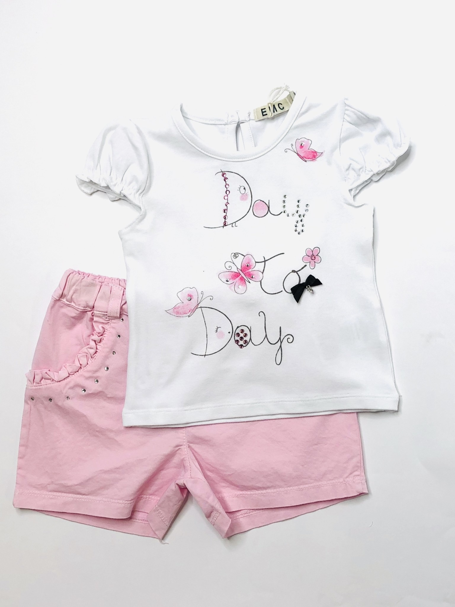 EMC White Butterfly T-shirt & Pink Diamond Short Set