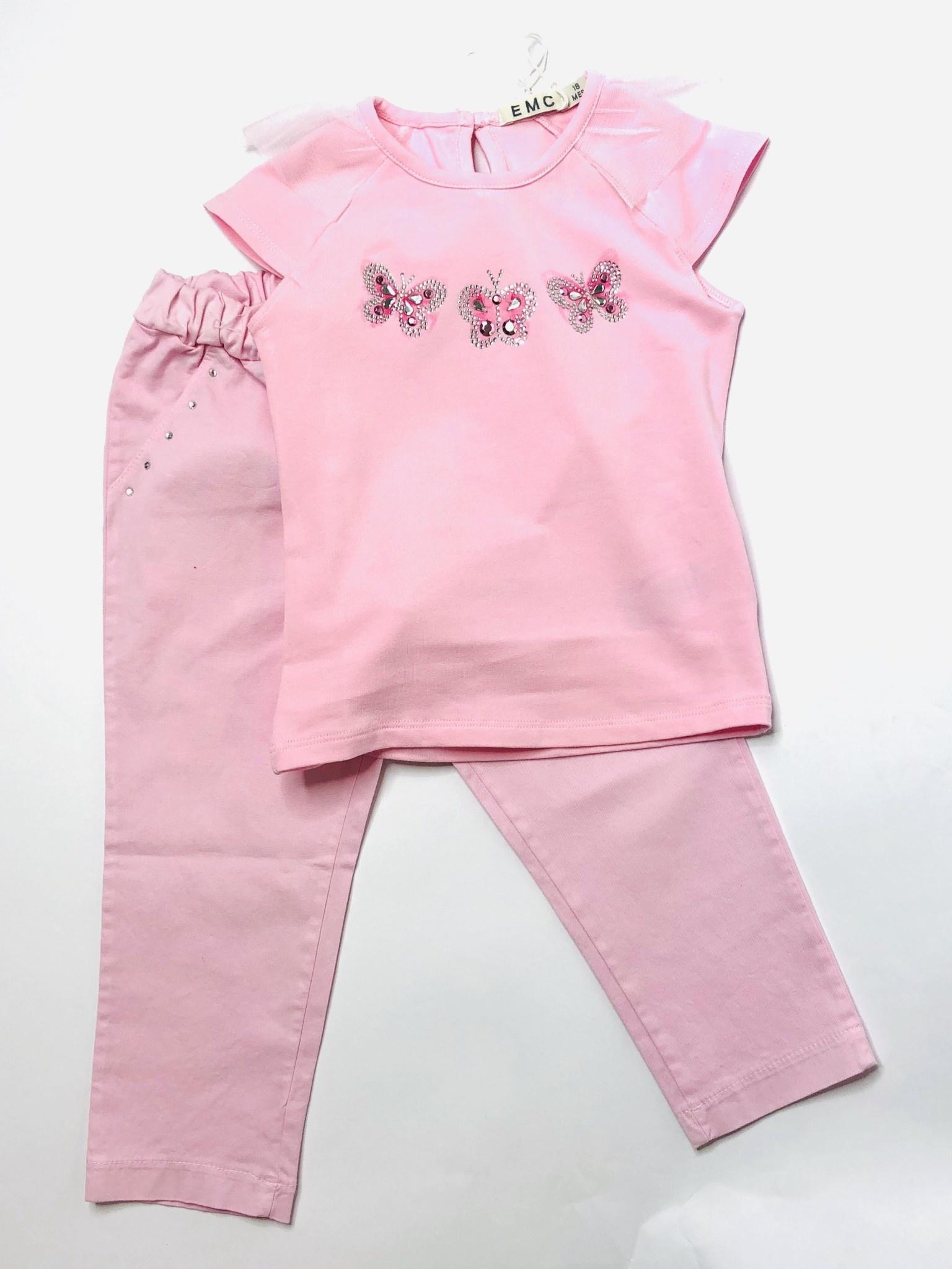 EMC EMC Pink Butterfly Top & Legging Set