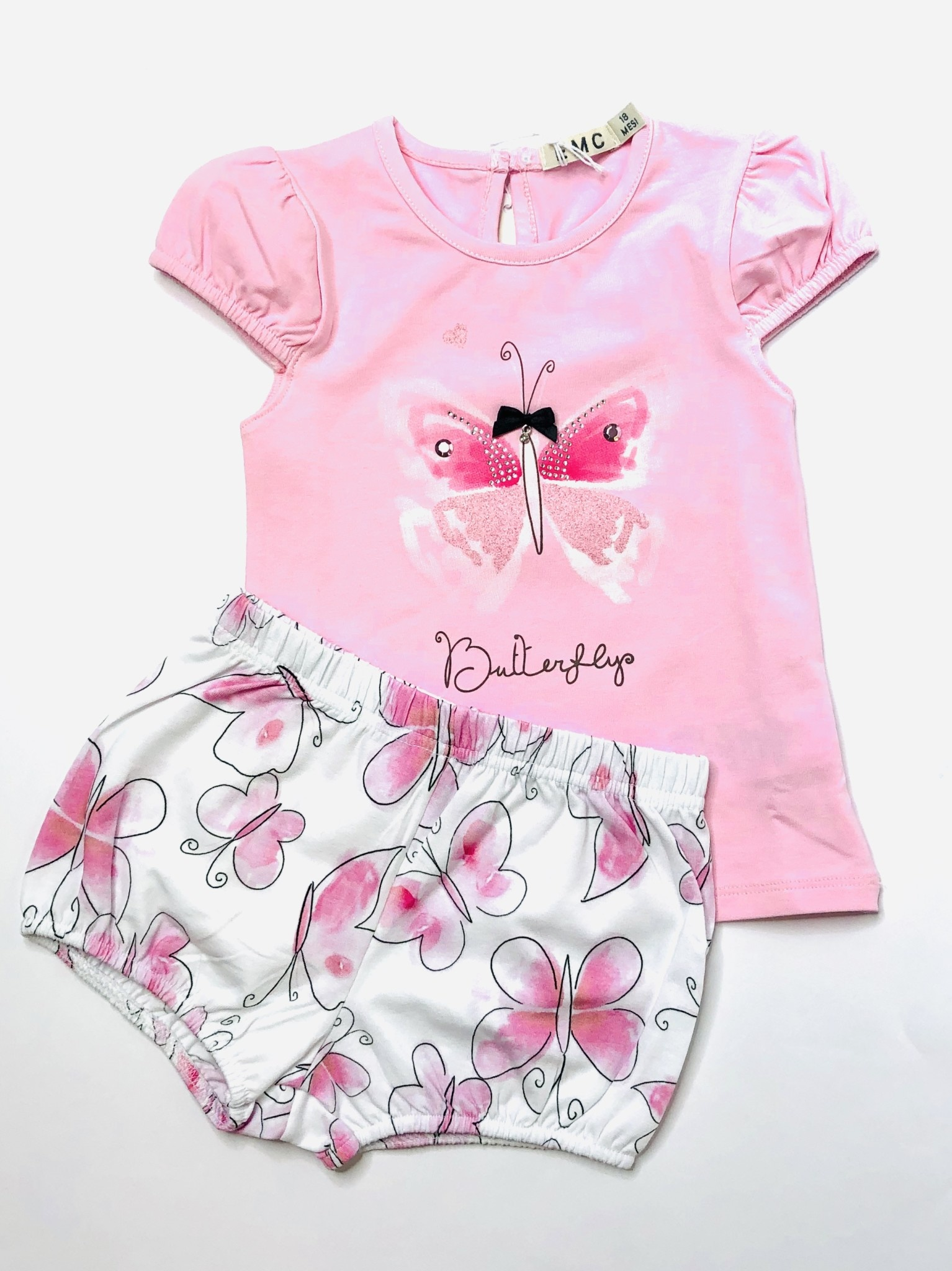 EMC EMC Pink Butterfly Top and Pants Set