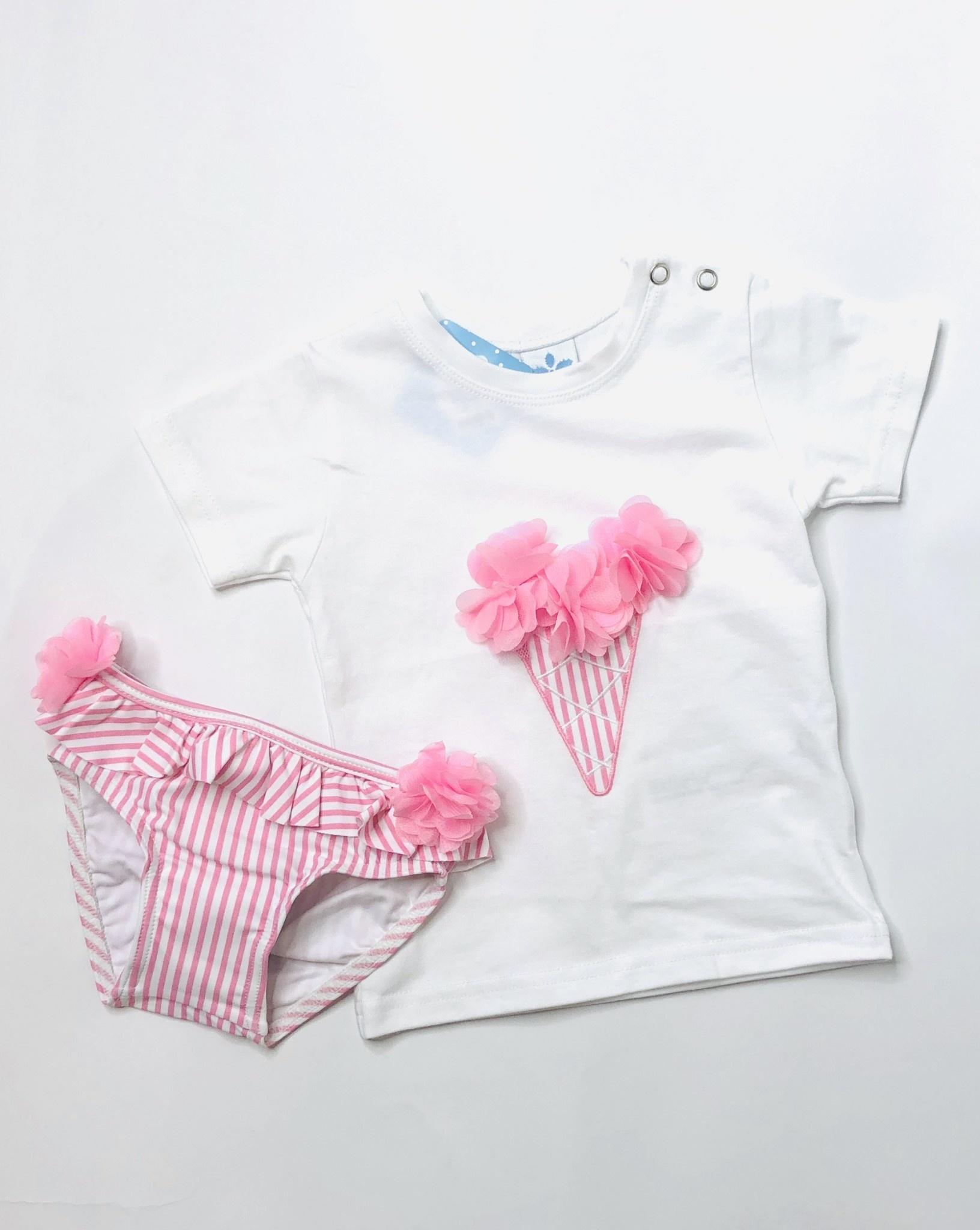 Sardon Sardon Girls Pink IceCream Top and Swim Pants Set