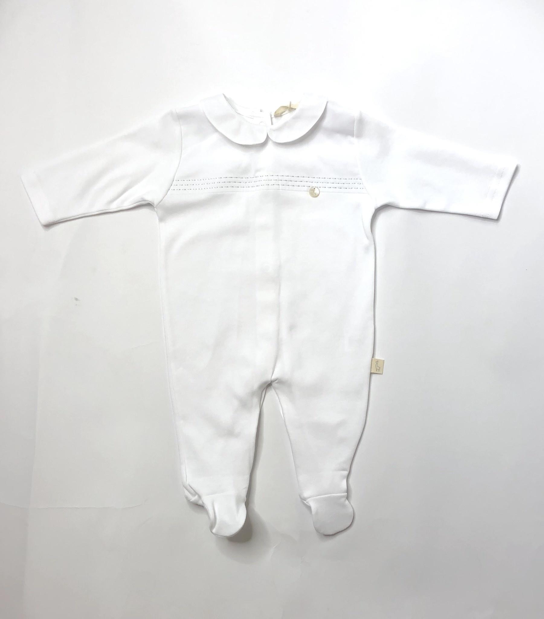 Baby Gi Baby Gi White Babygrow with collar