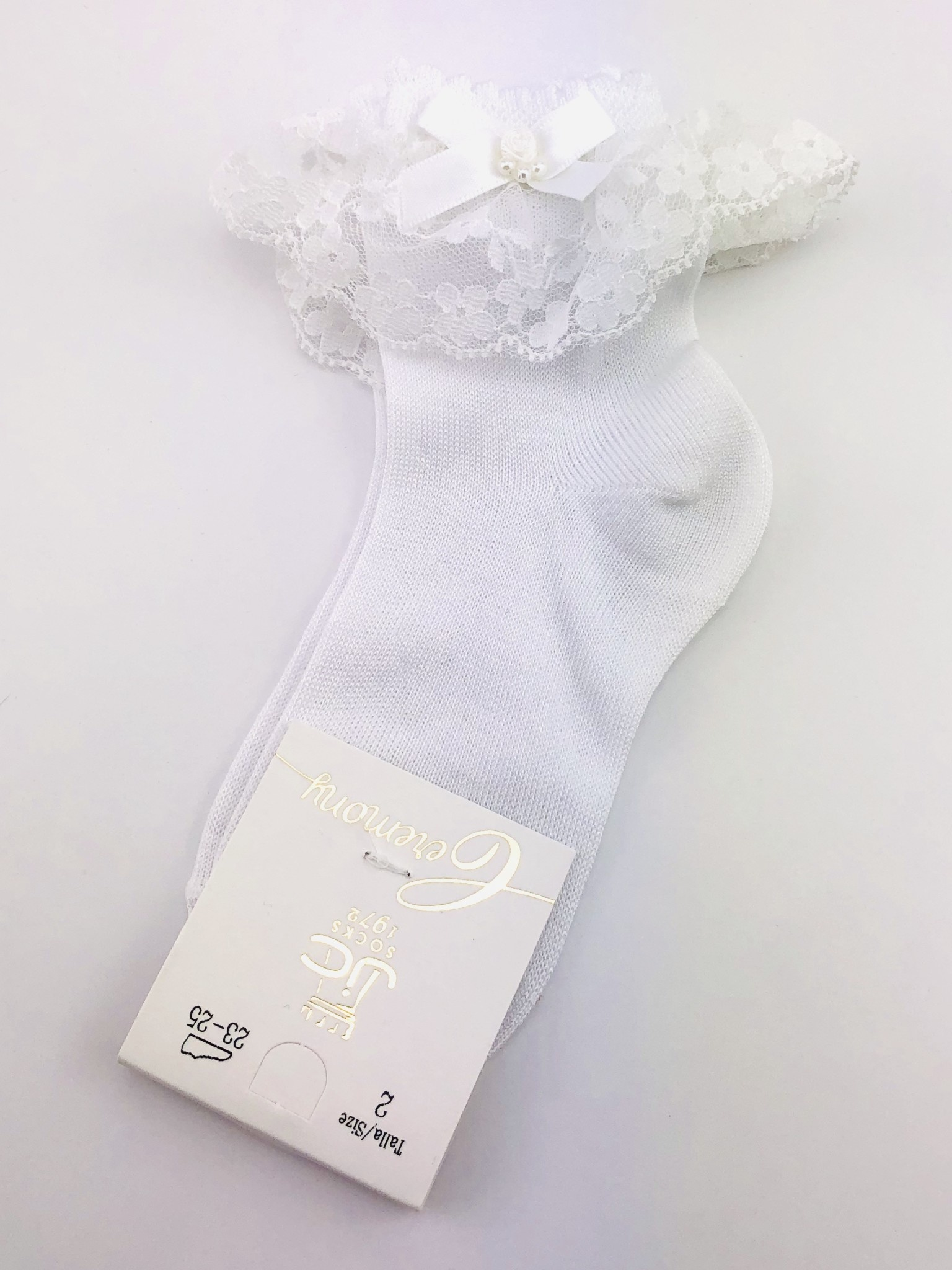 JC Socks JC Socks 32635 Lace Ruffle Ankle Sock With Rose & Bow Detail