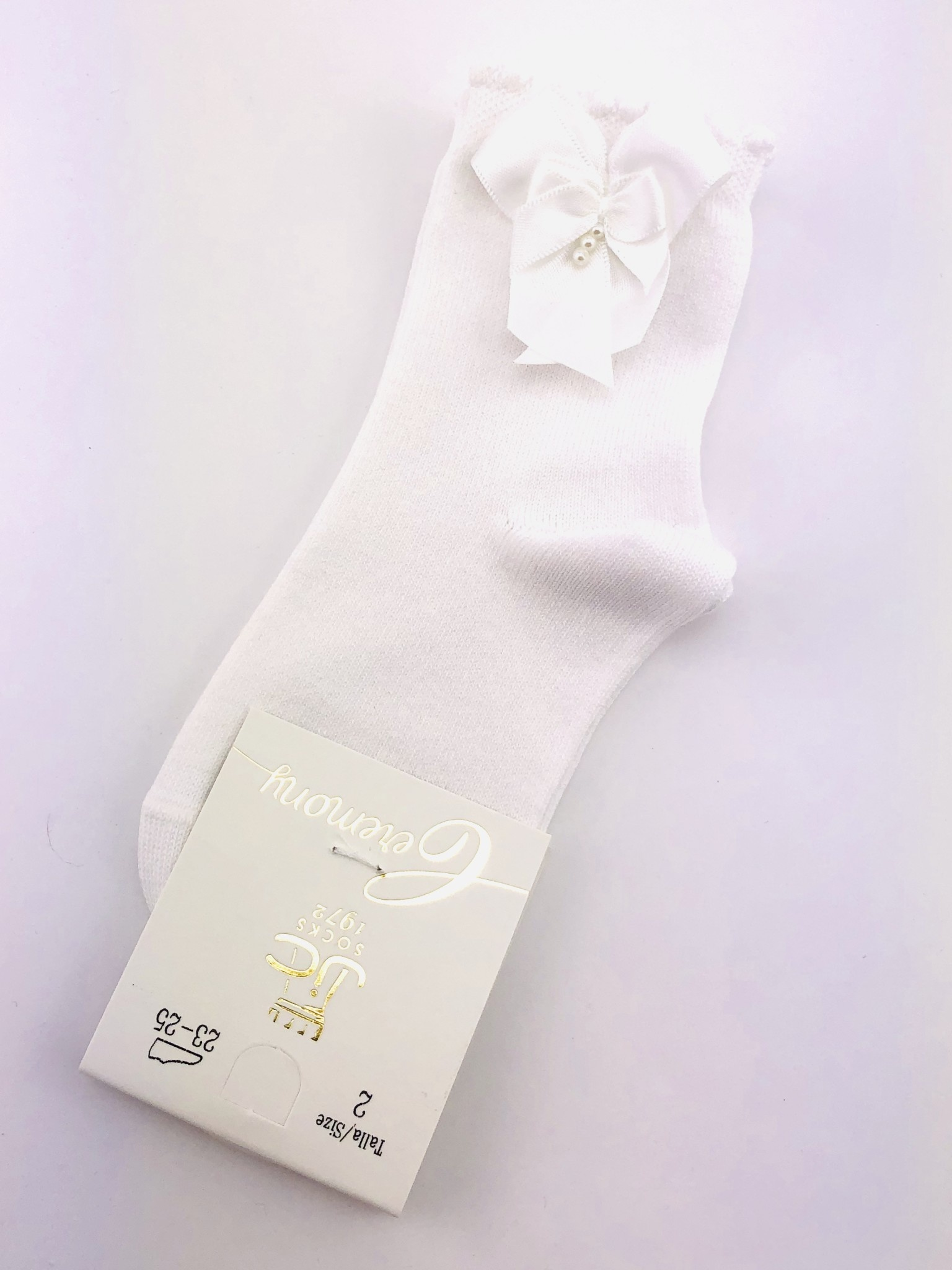 JC Socks JC Socks 32634-1 White Sock with Bow & Pearl Detail (thick Sock)