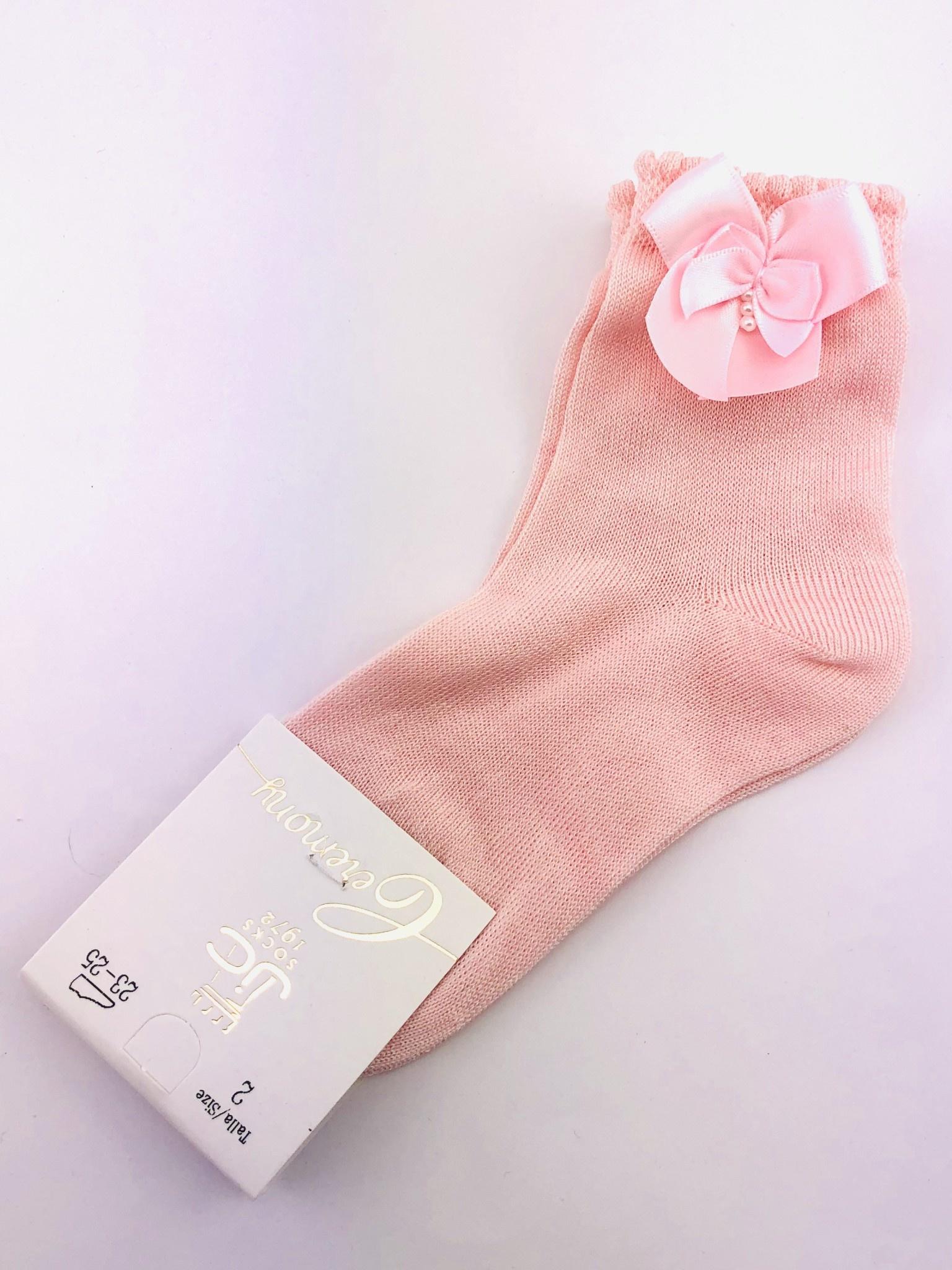 JC Socks JC Socks 32634 Pink Sock with Bow & Pearl (fine Sock)