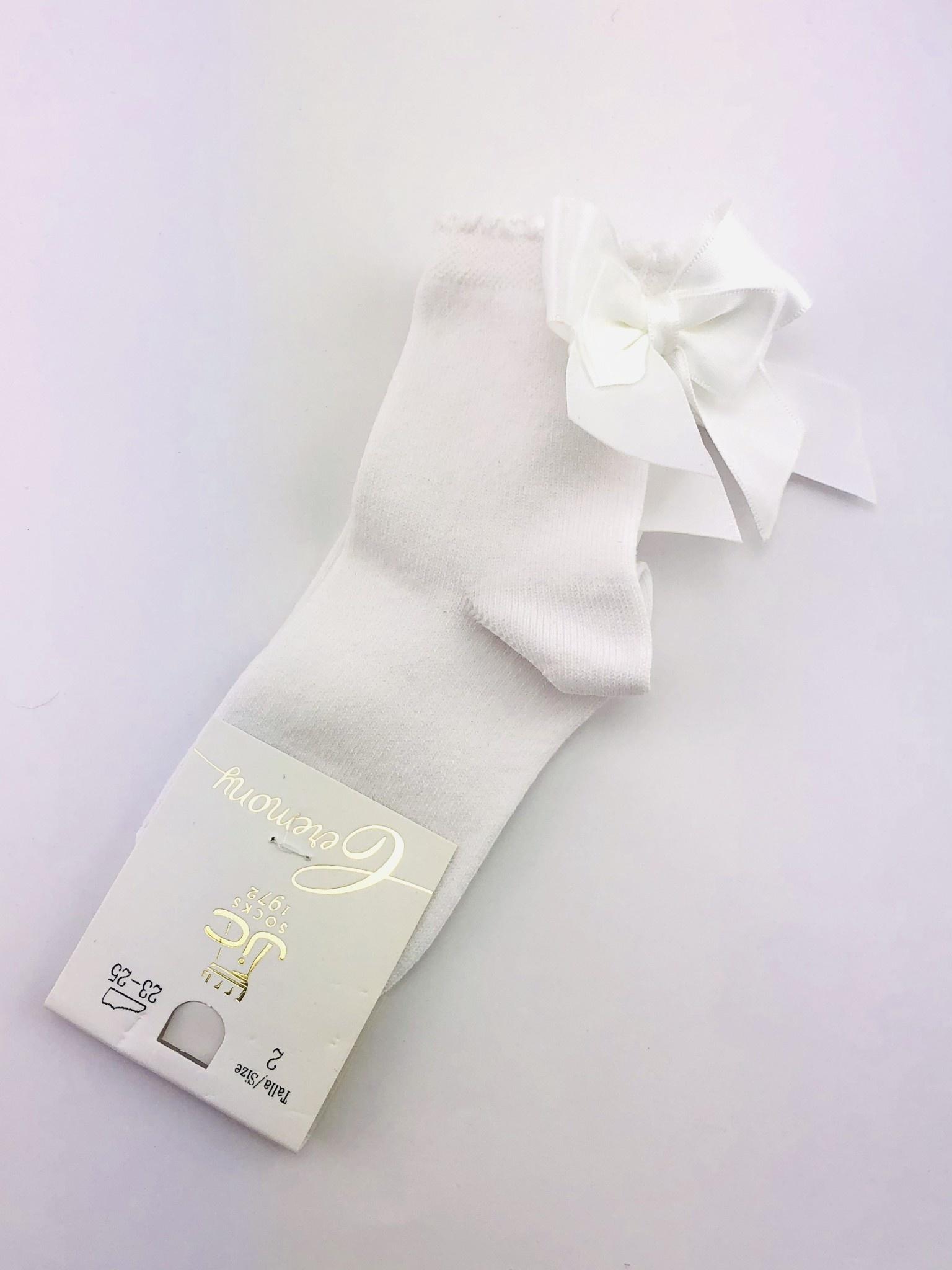 JC Socks JC Socks  32636-1 white sock with satin bow