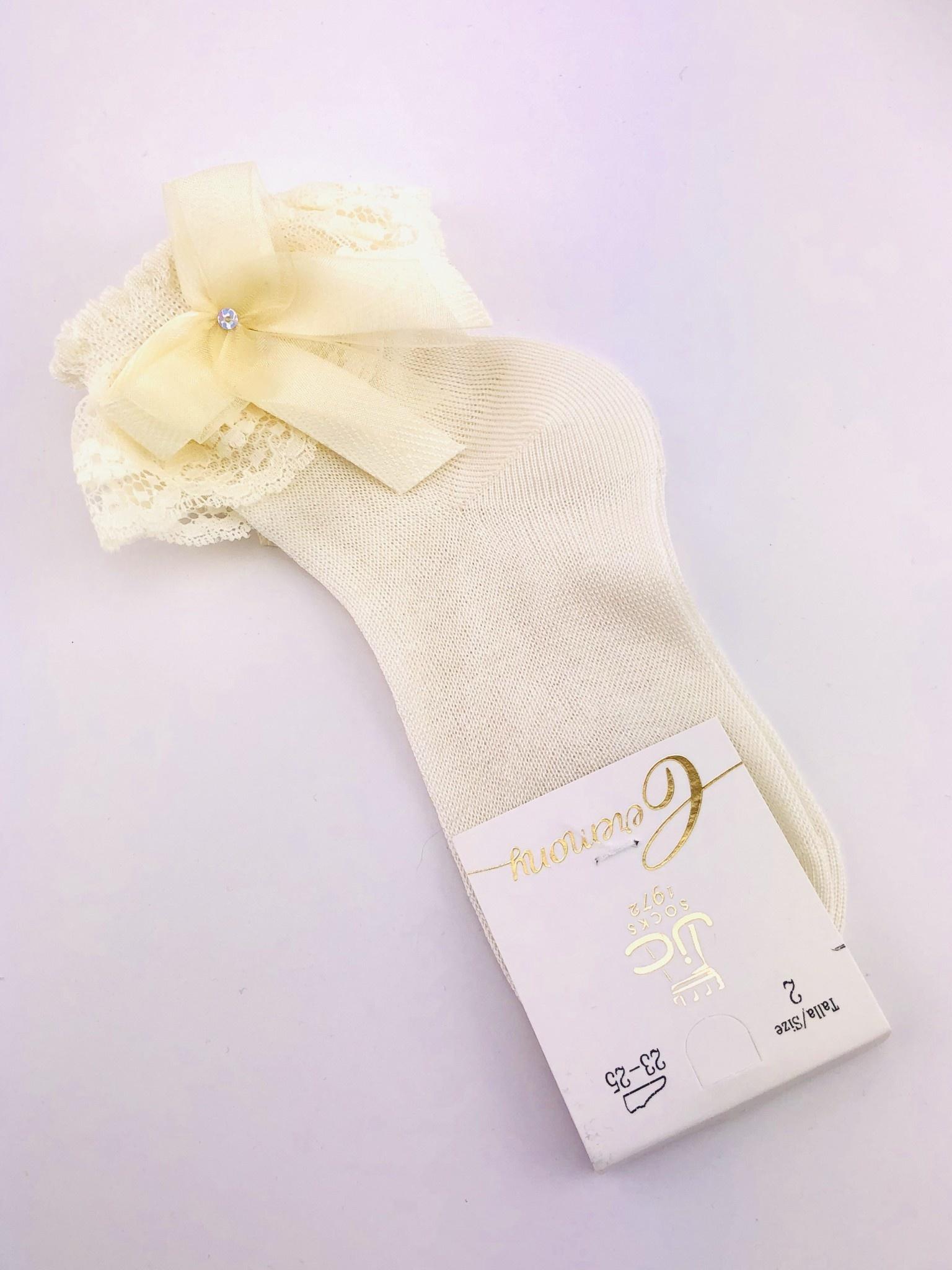 JC Socks JC Socks 32629-2 Ivory Lace Fill With Bow ( Fine Sock)