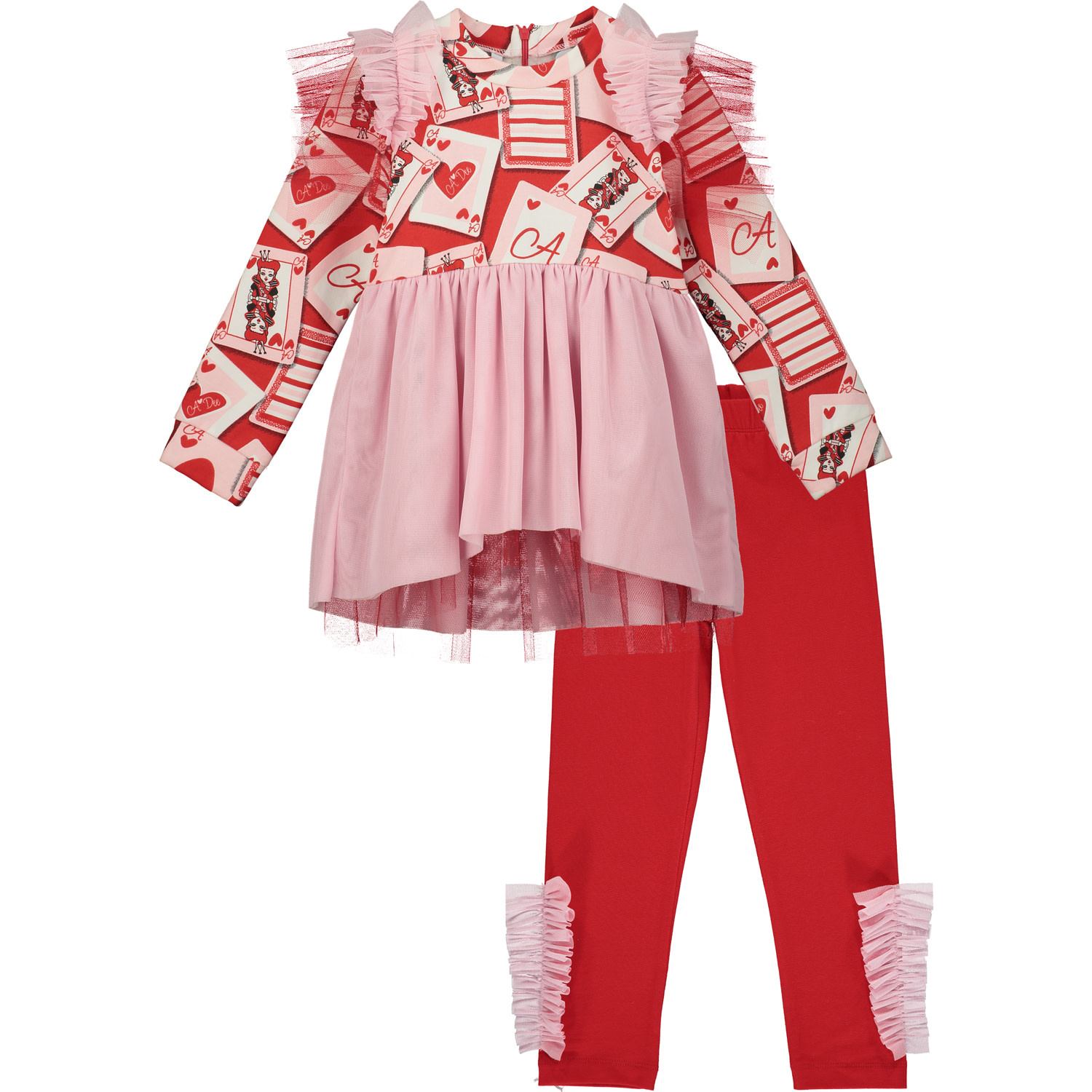 A Dee ADee Evangeline Red Tule Playing Cards Legging Set