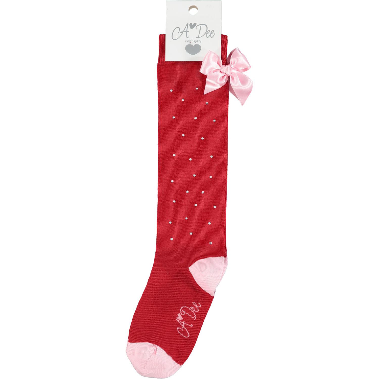 A Dee ADee Elberta Red Sparkle Knee Sock 3-4 Years