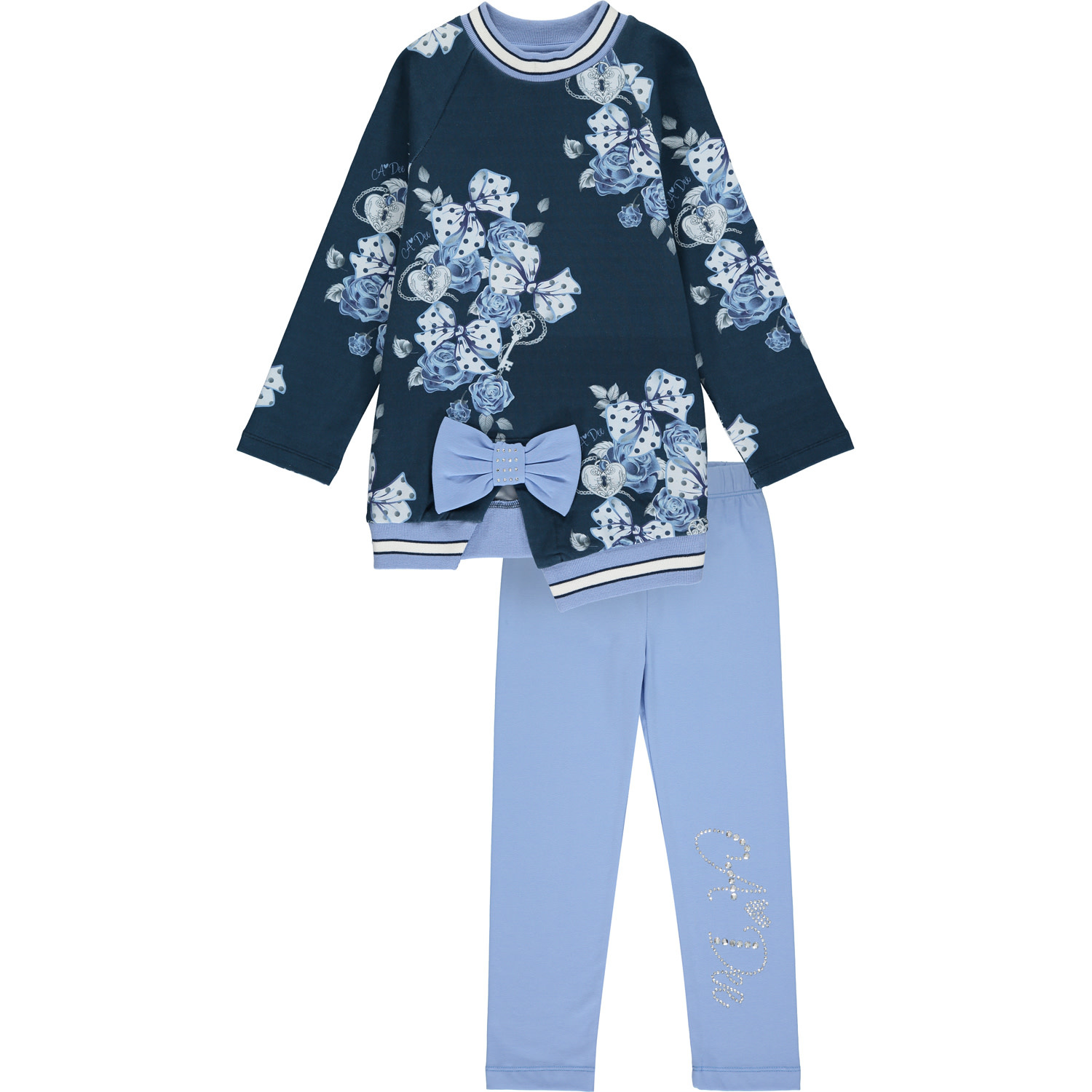 A Dee ADee Heaven Blue Navy Bows & Roses Legging Set