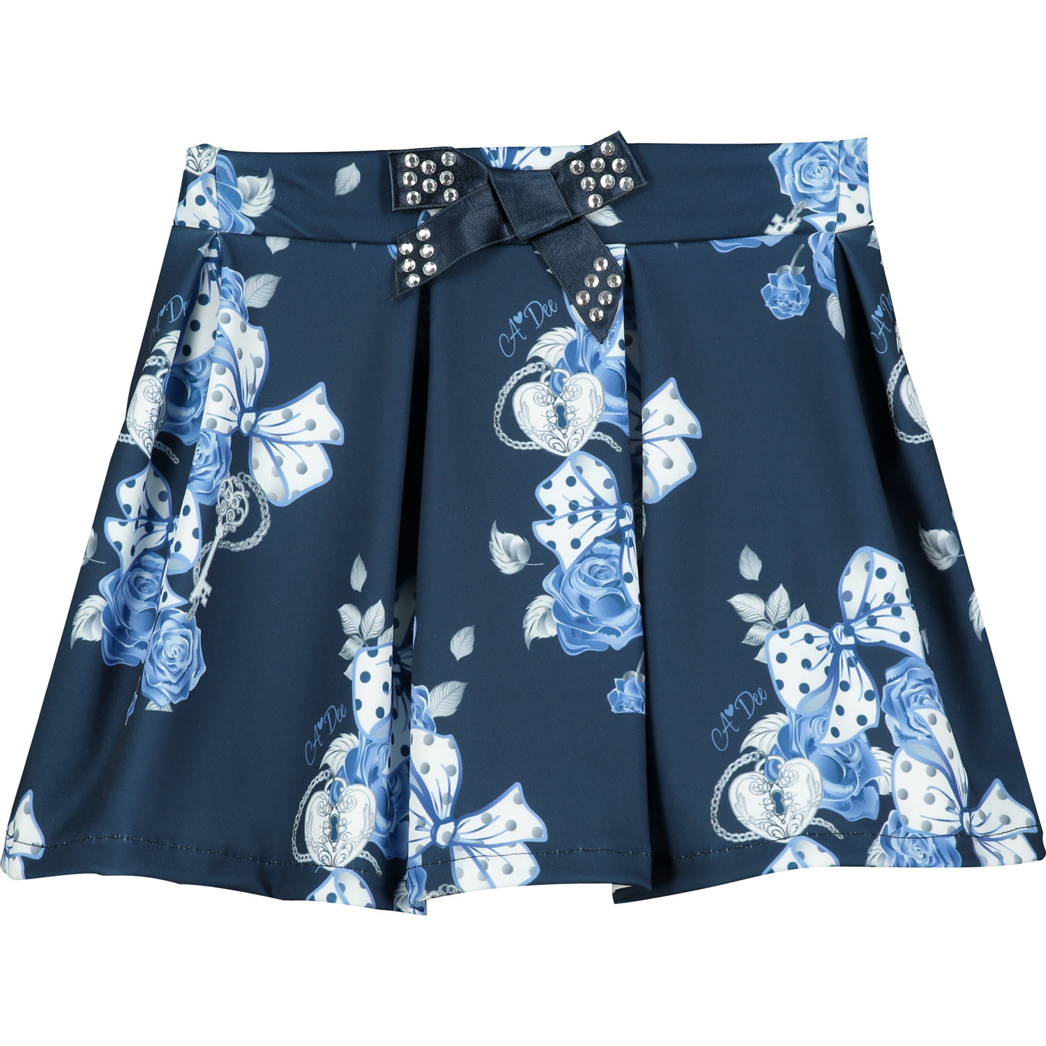 A Dee ADee Hennessy Navy Bows & Roses Skirt