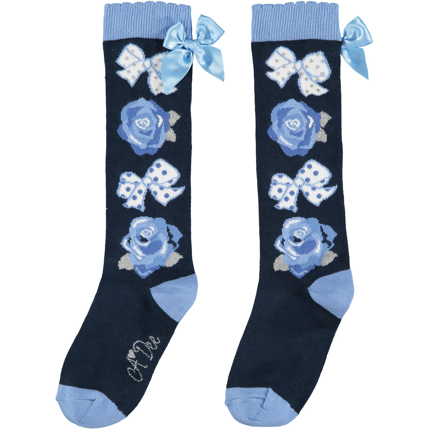A Dee ADee Hasana Blue, Navy Bow & Roses Knee Socks