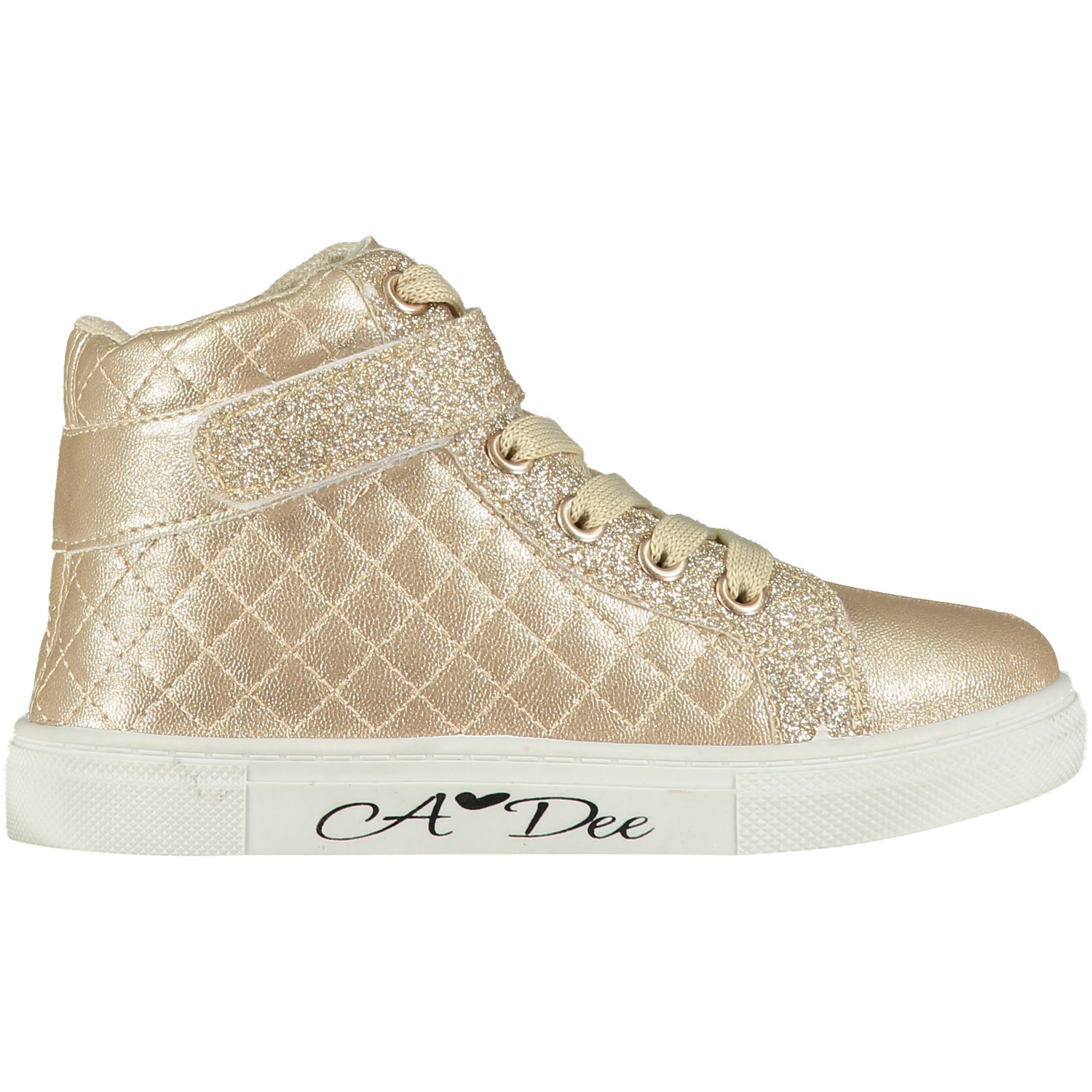 A Dee ADee Kriss Kross Champagne Quilted High Top Trainer