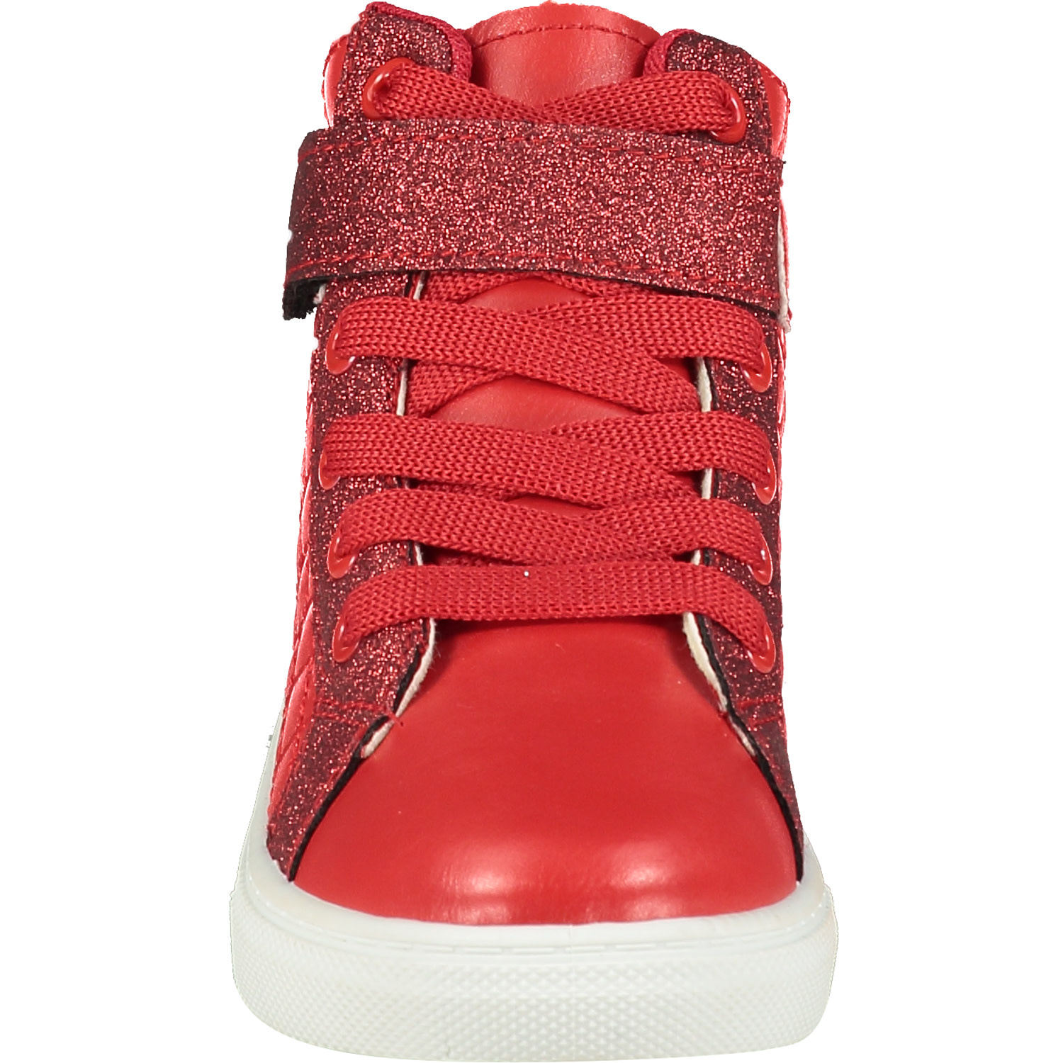 A Dee ADee Kriss Kross Red Quilted High Top Trainer