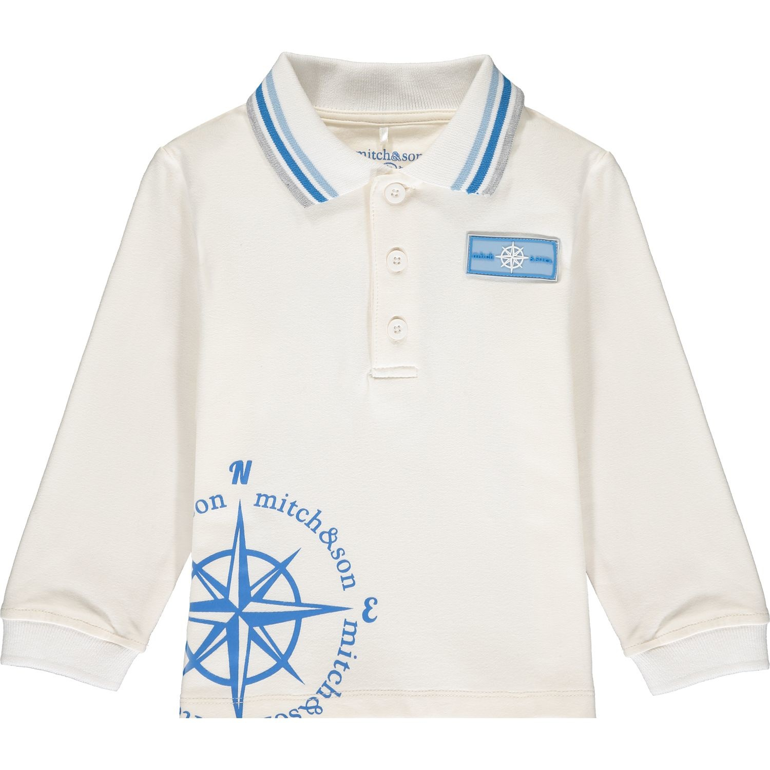 Mitch and Son Mitch & Son Ashton Winter White Compass Polo Top