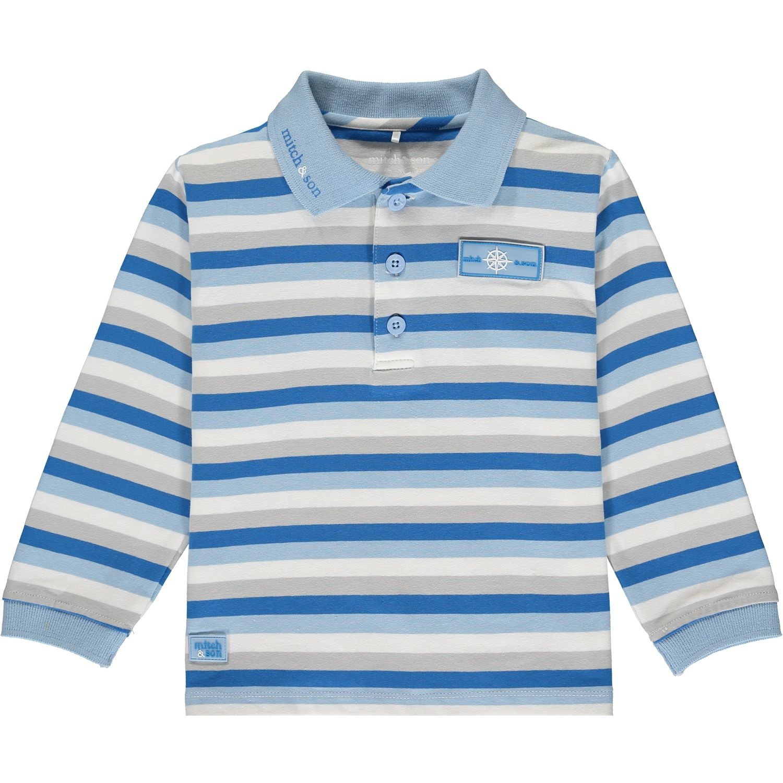 Mitch and Son Mitch & Son Rowan Blue Stripe Polo Top 12 MONTHS