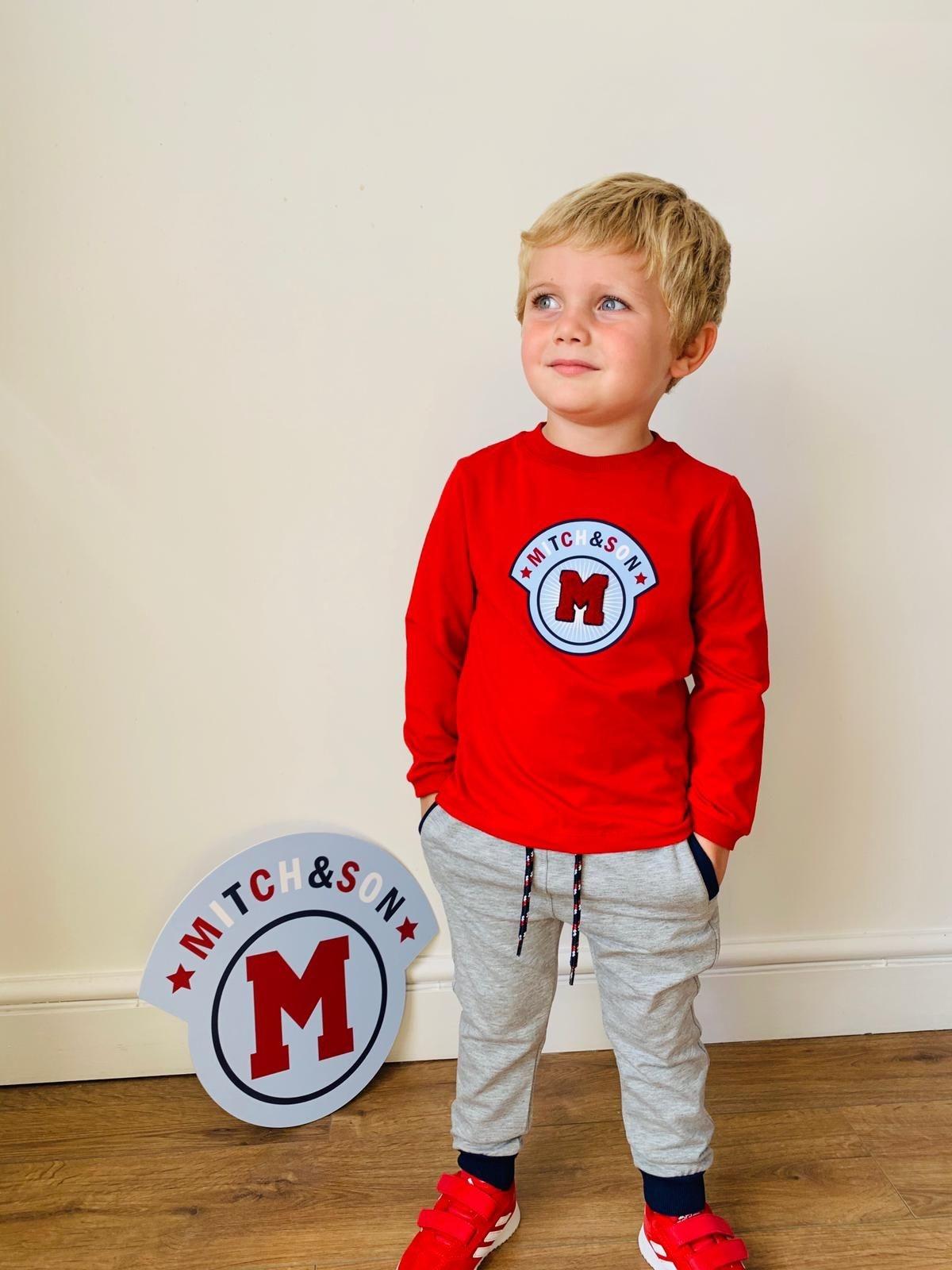 Mitch and Son Mitch & Son Amir Chilli Red Round Neck Badge Top