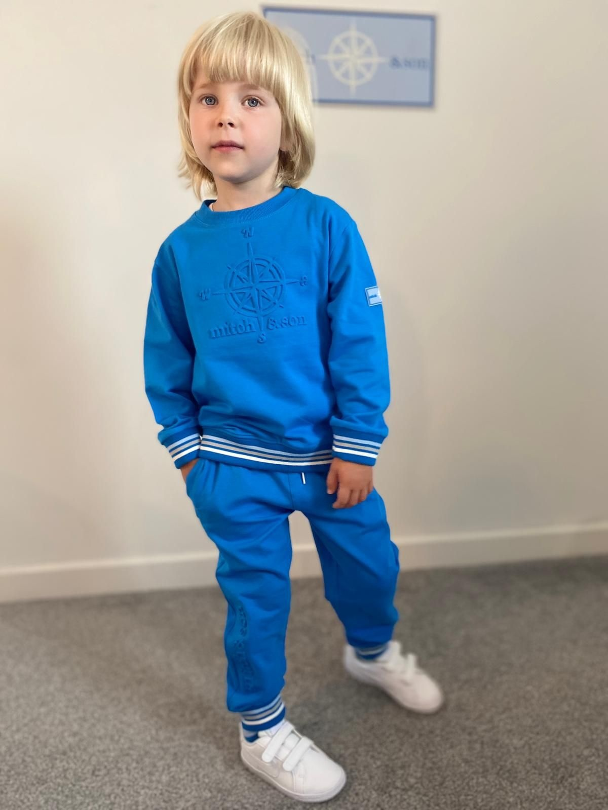 Mitch and Son Mitch & Son Max Brilliant Blue Embossed Compass Tracksuit