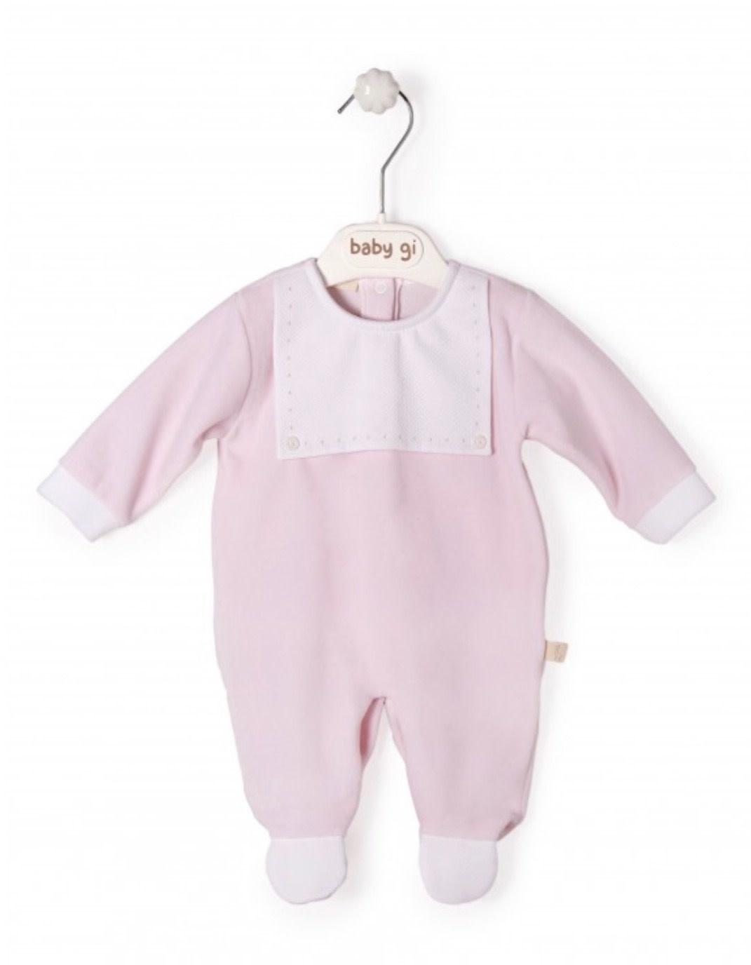 Baby Gi Baby Gi Pink Babygrow with Bib