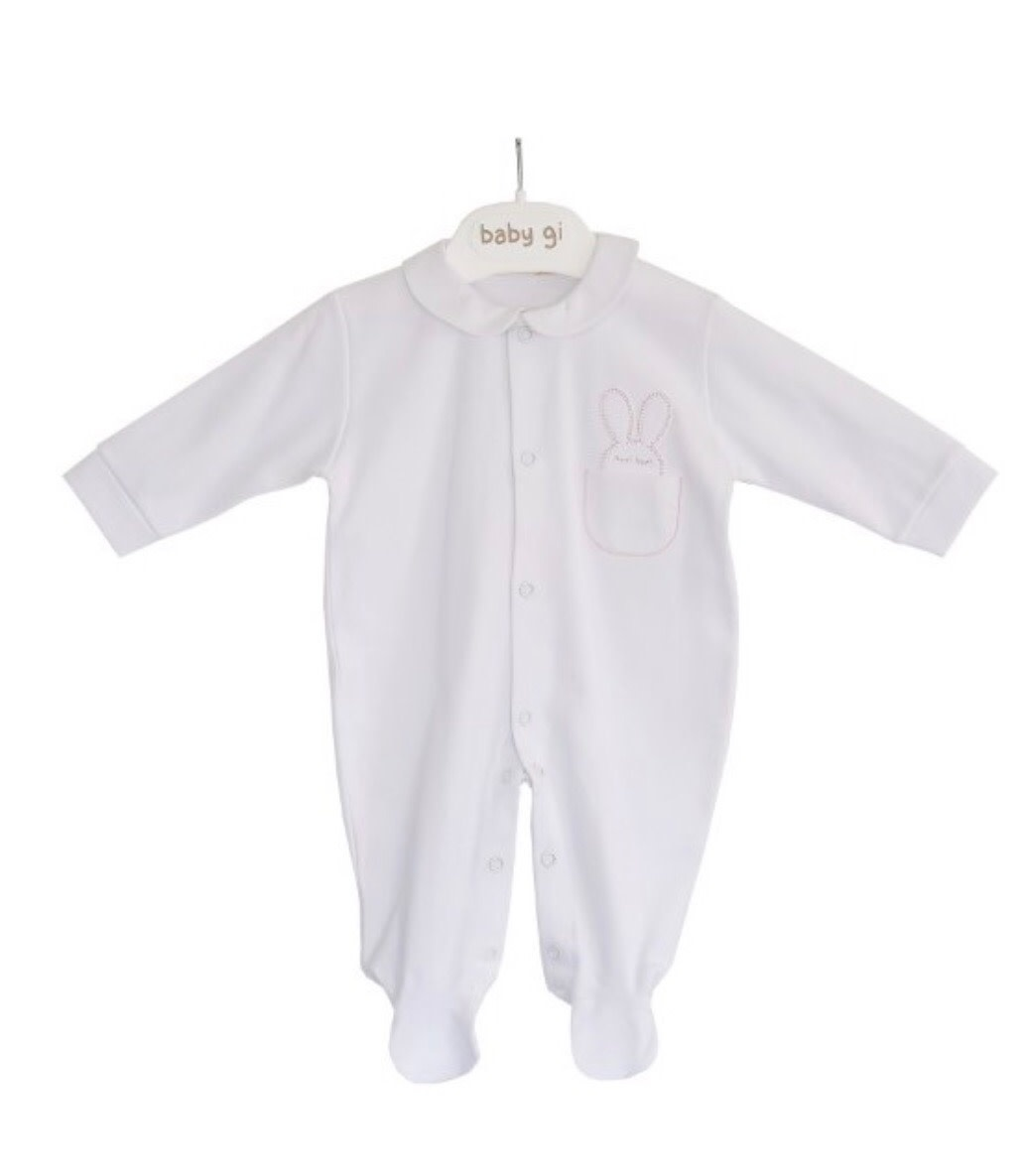 Baby Gi Baby Gi White Bunny Pink  Pocket Detail Babygrow
