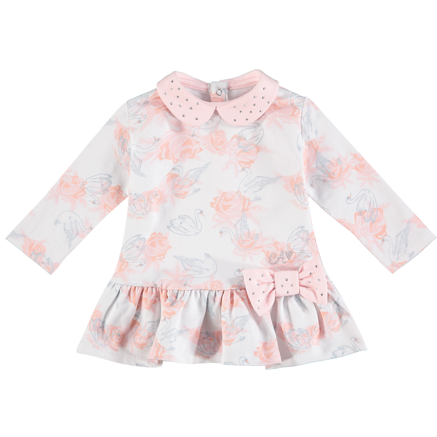 ADee Baby Little A Ivette White Rose Print Dress