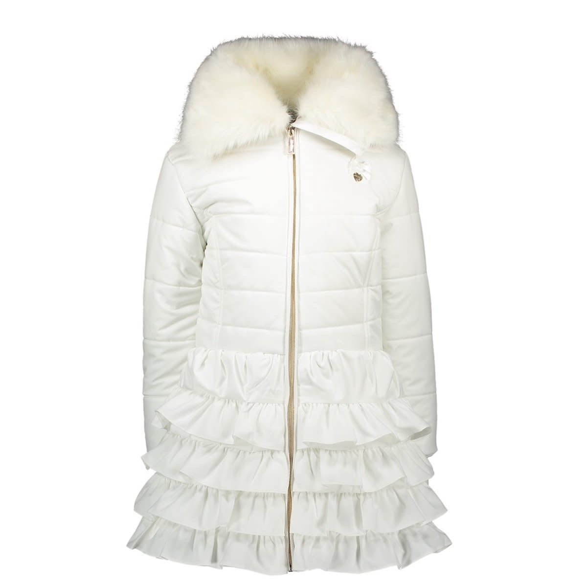 Lechic LeChic C007-5207 White Winter Luxury Ruffle Coat