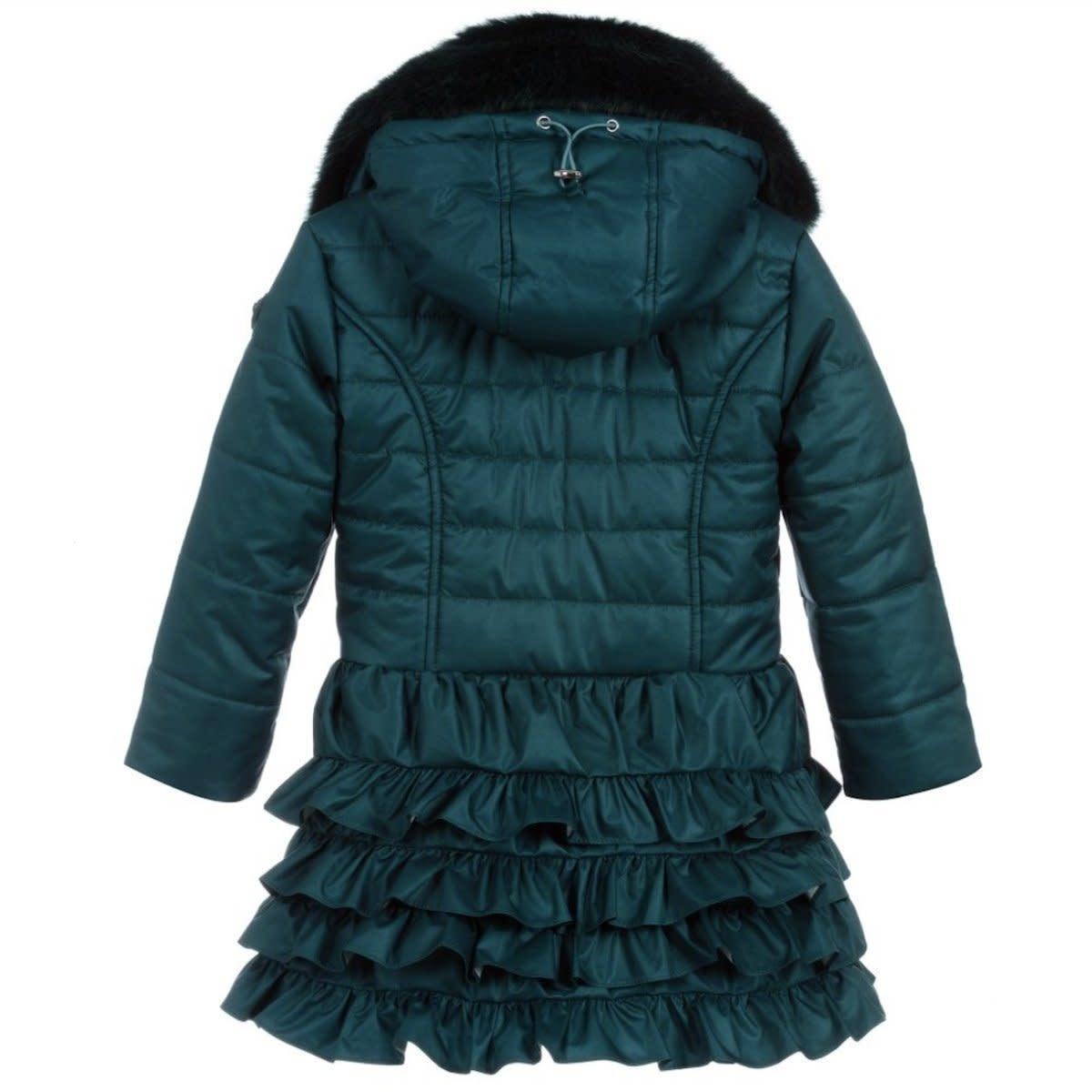 Lechic LeChic C007-5207 Teal Luxury Winter Ruffle Coat