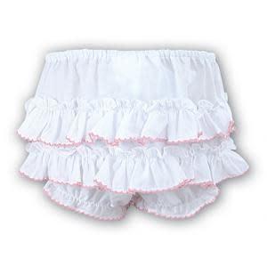 Sarah Louise Sarah louise Frilly Pants with Pink Trim