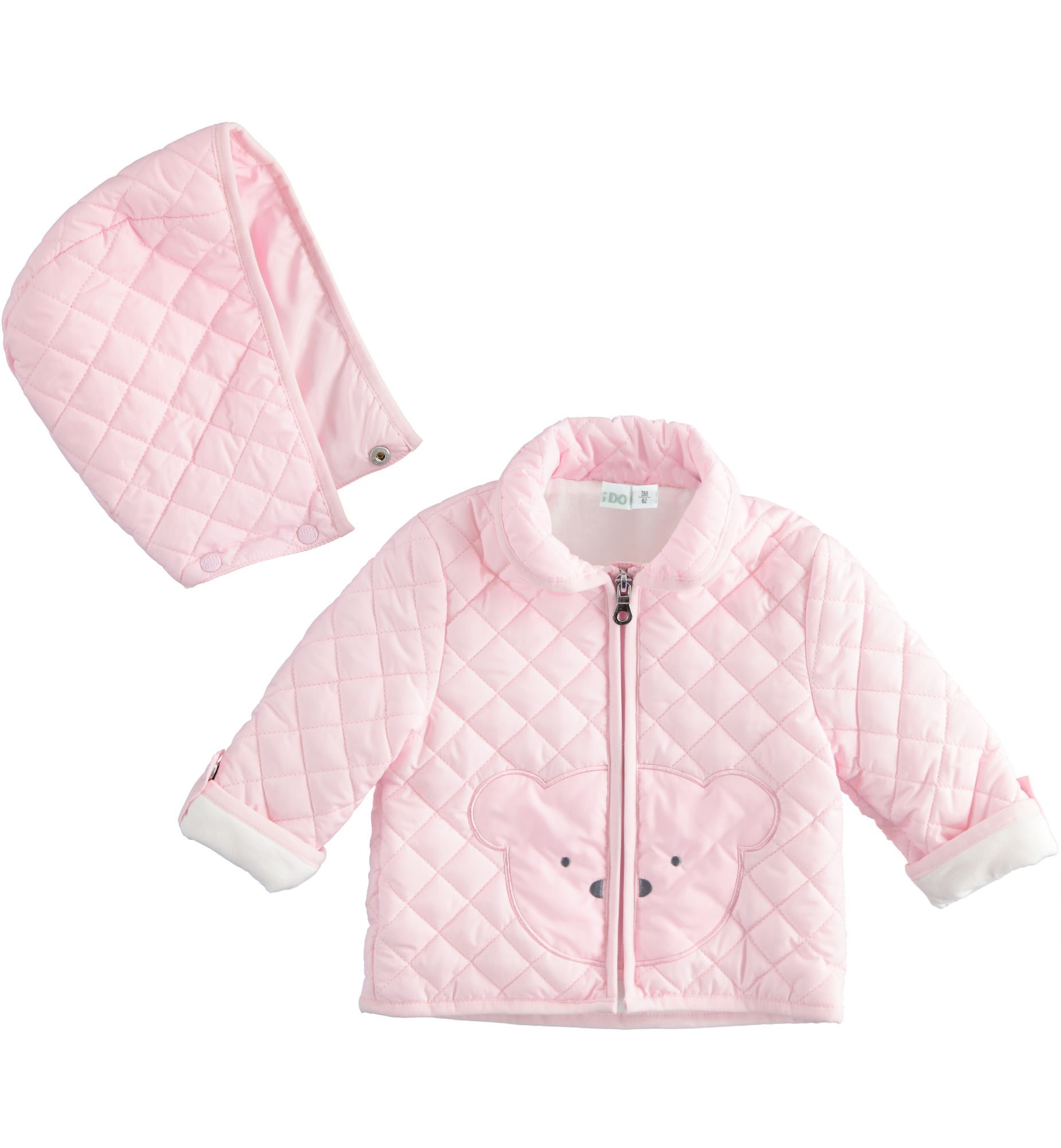 Ido Ido 1292 Pink Bear Quilted Jacket