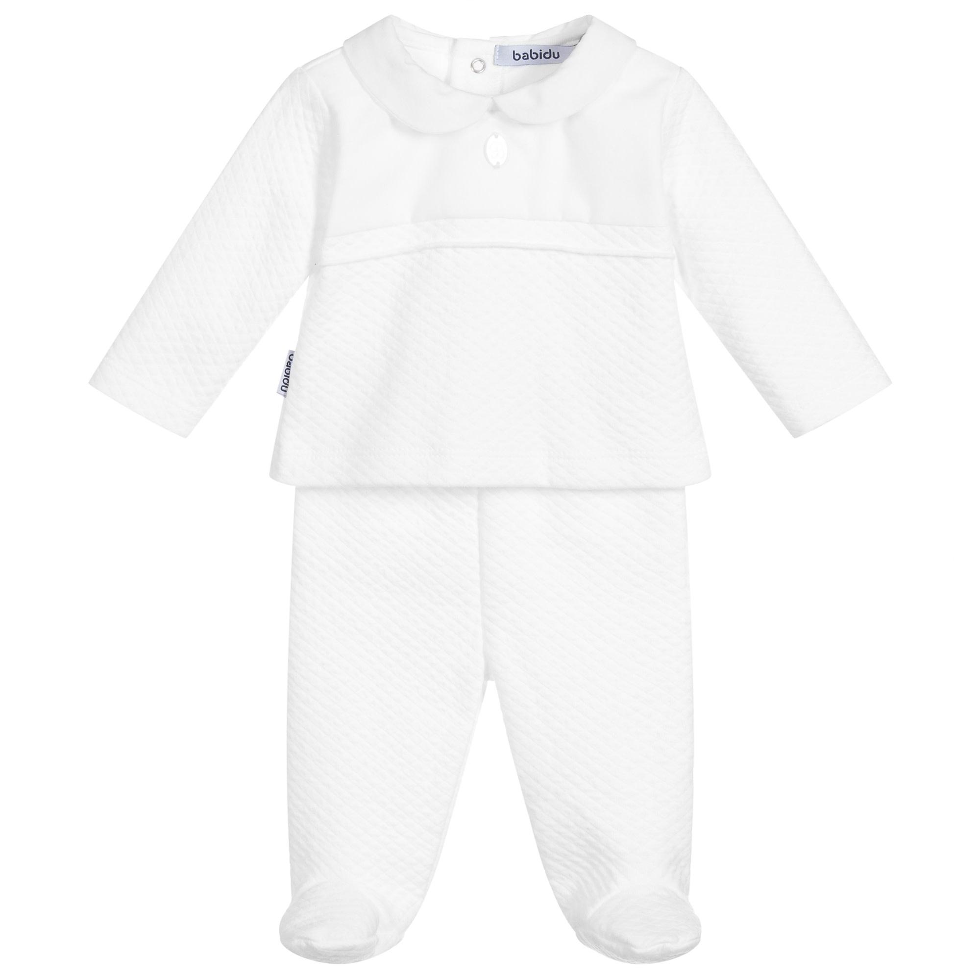 Babidu Babidu White Cotton 2 Piece Babygrow