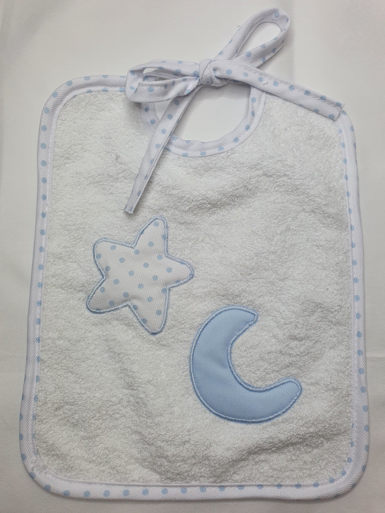 Babidu Babidu Square Blue/White Velcro Bib