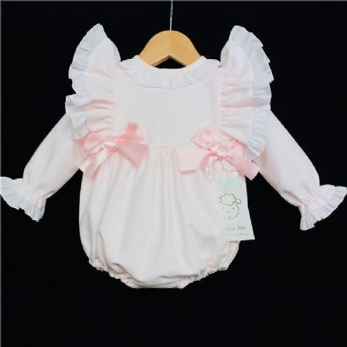 Wee Me WEE ME Pink Double Bow Girls Romper