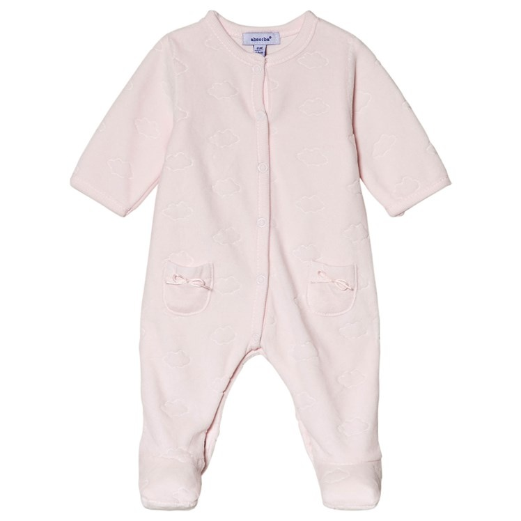 Absorba Absorba Pale Pink Velour Clouds Babygrow